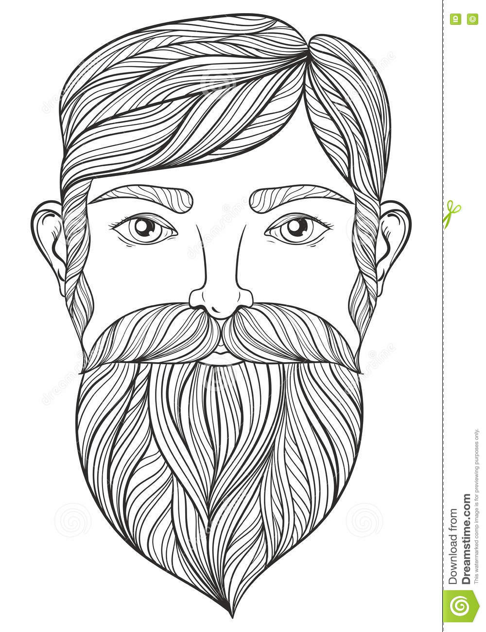 royalty free vector - Mustache Coloring Pages
