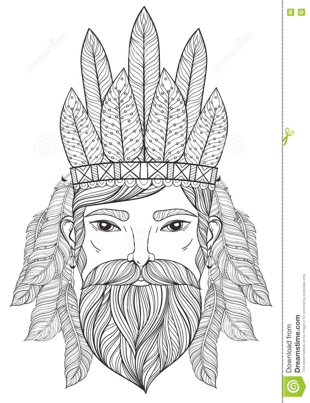 Vector zentangle portrait of man with mustache beard war bonnet with feathers for adult coloring pages tattoo art ethnic patterned t shirt print