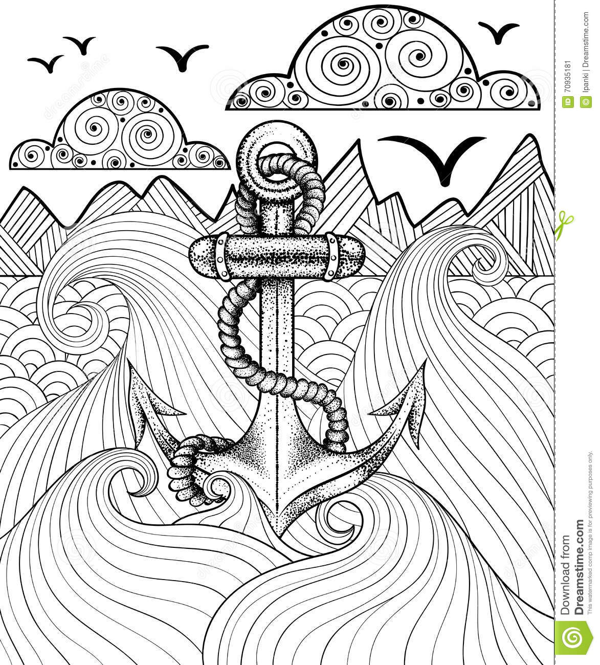 Vector Zentangle Print For Adult Coloring Page. Hand Drawn ...