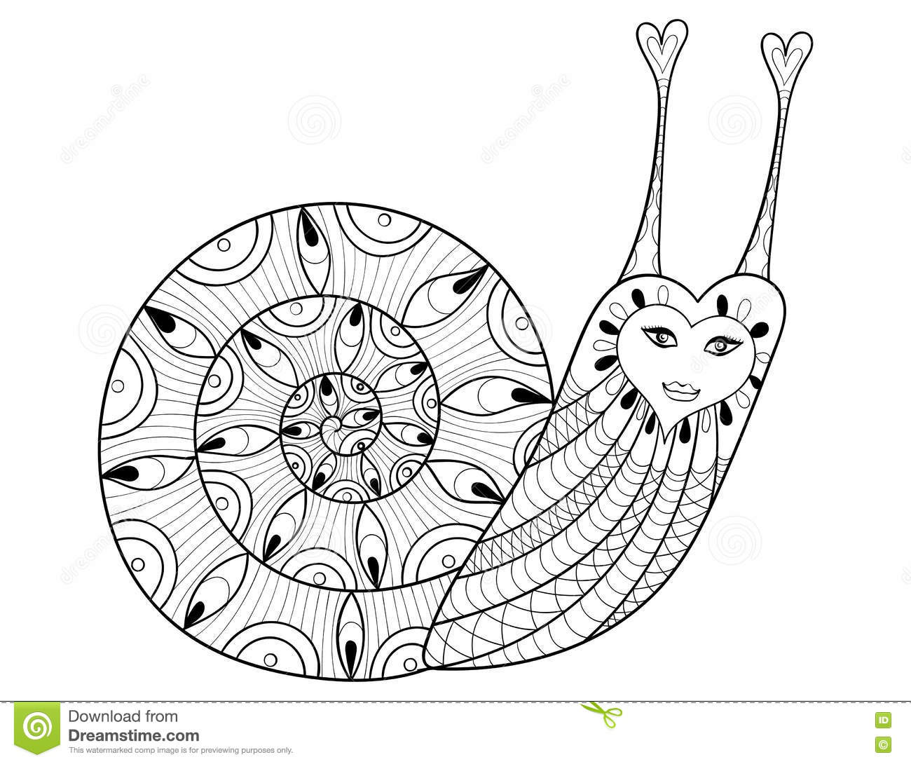 Vector Zentangle Snail For Adult Coloring Pages, Art Therapy Stock ...