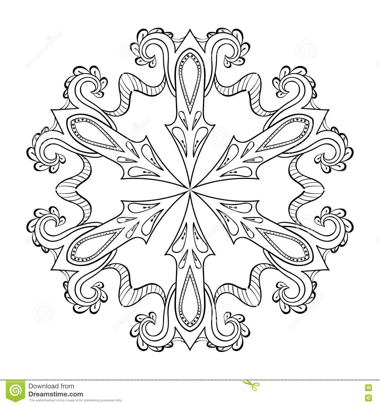 winter adult coloring pages Vector Zentangle Snow Flake, Mandala For Adult Coloring Pages. O  winter adult coloring pages