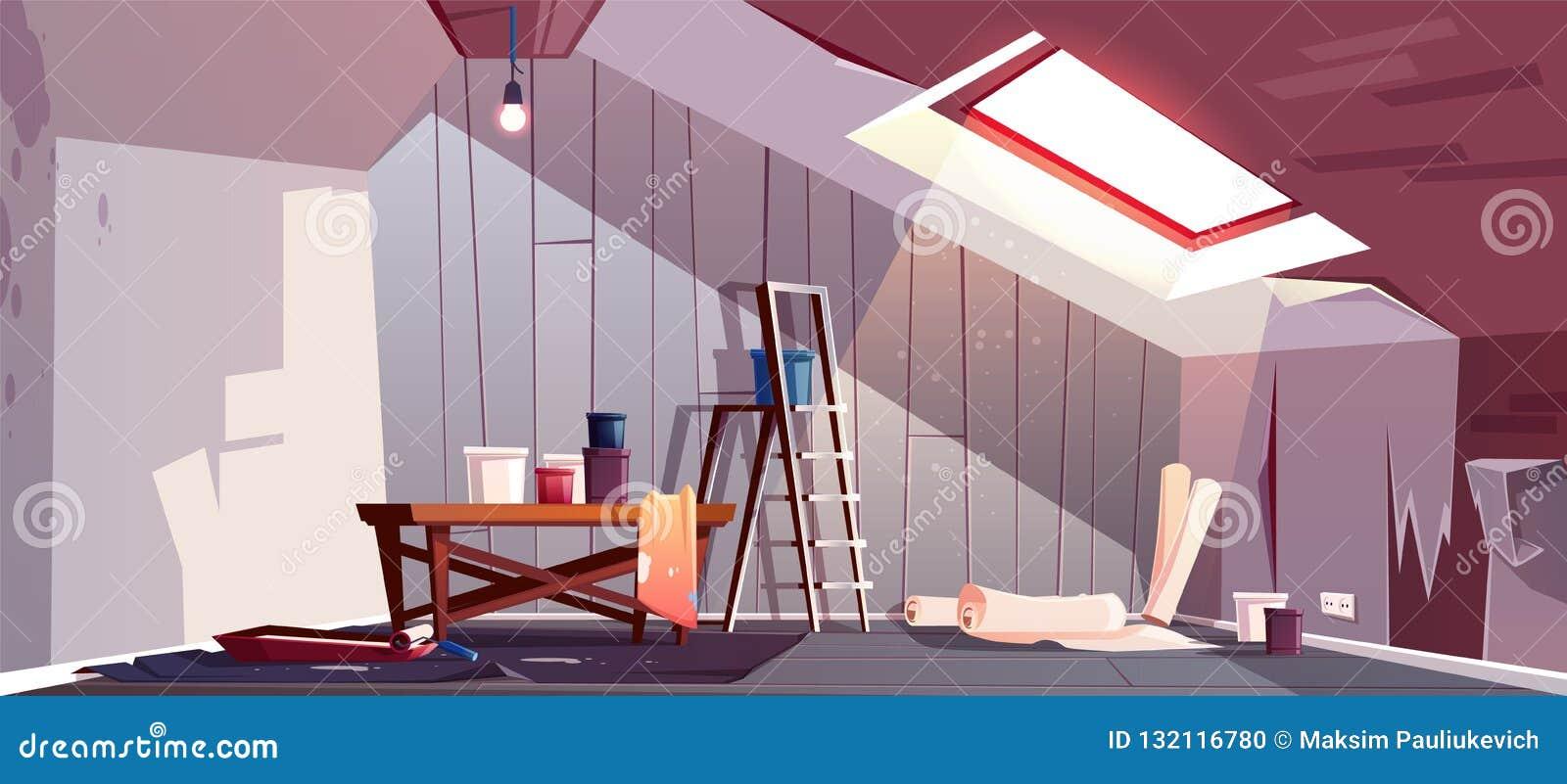 Vector zolderreparatie Vernieuwing van zolderkamer, zolder