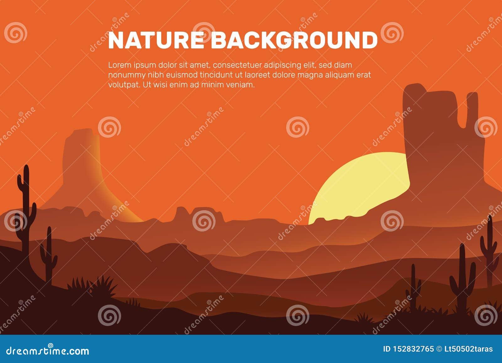Vectorachtergrond die van de woestijn, uit de zon, het zand, de bergen en de cactus bestaan