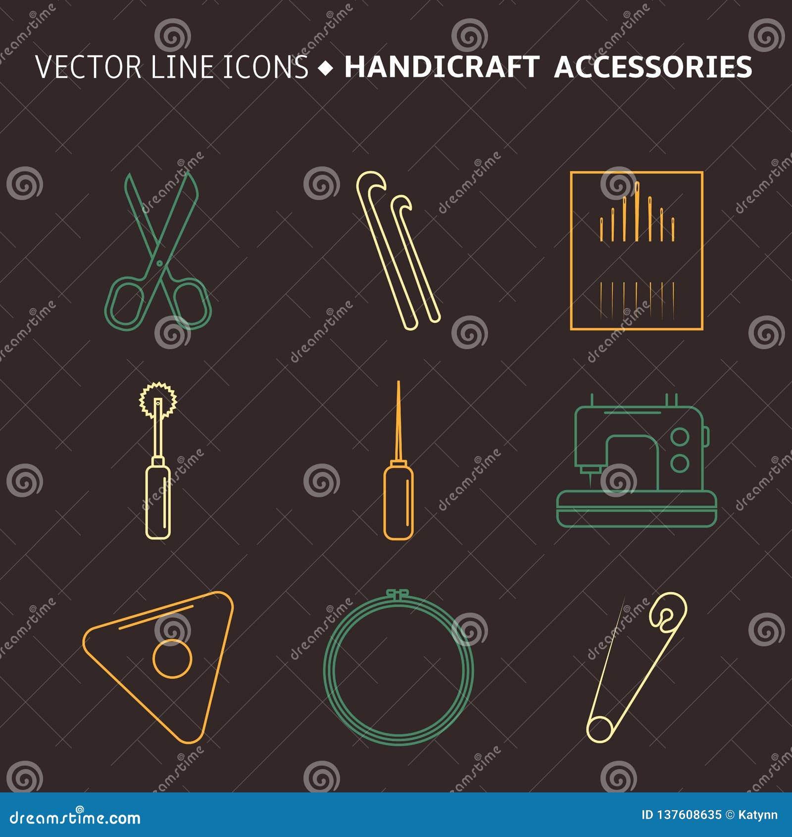 Vectorambachtstoebehoren De reeks van de lijnkunst toebehoren voor het naaien en met de hand gemaakt