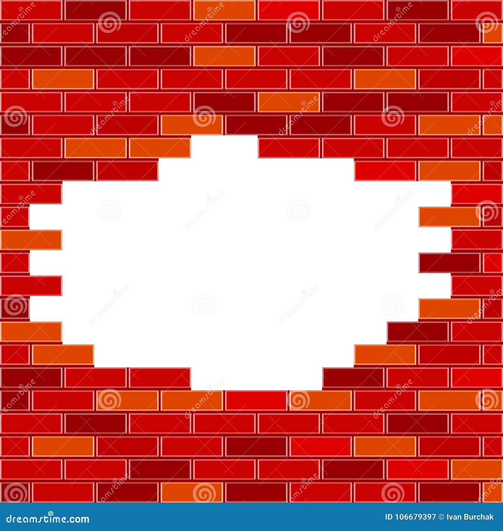 VectorBakstenen muur met Gat en Steekproeftekst - Rood