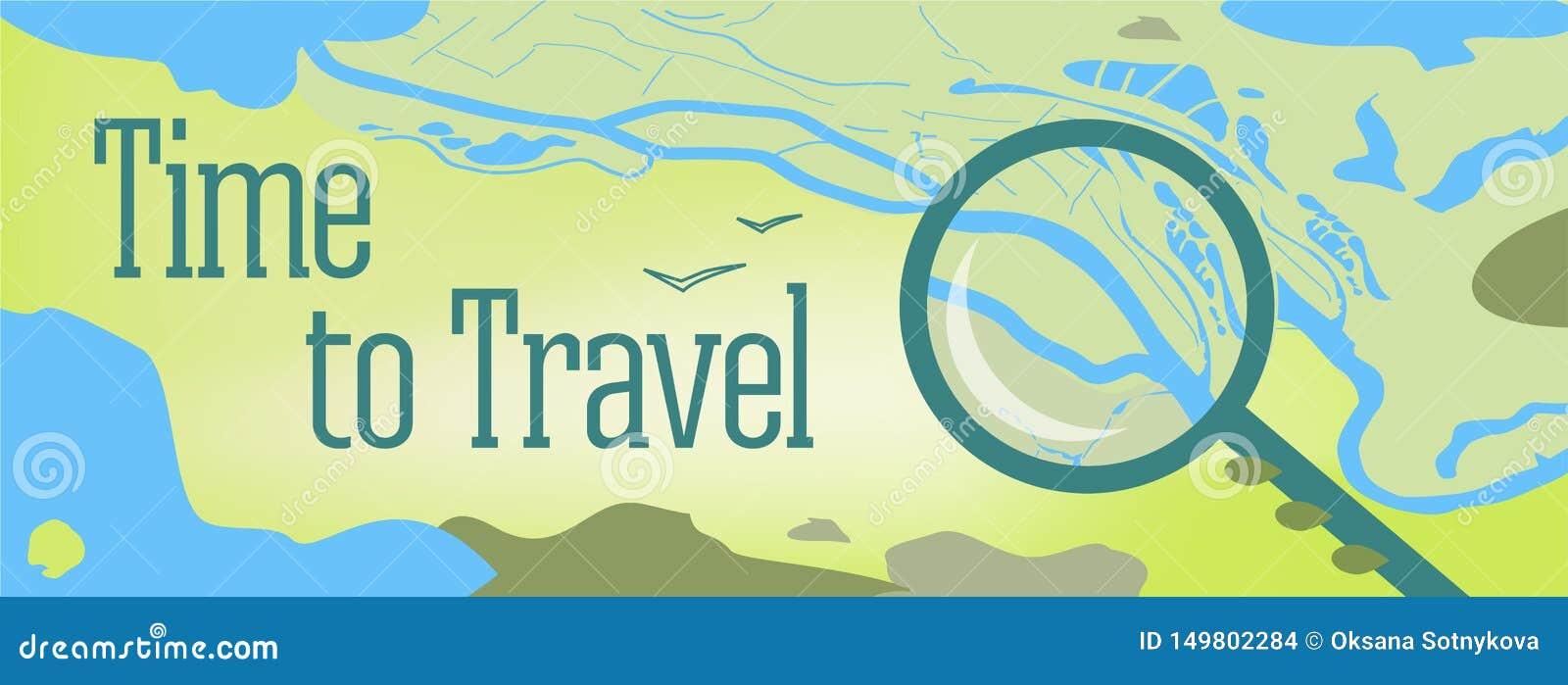 Vectorbannerontwerp met teksttijd te reizen Illustratie van een kaart van de wereld, met het overzees, meren, bergen
