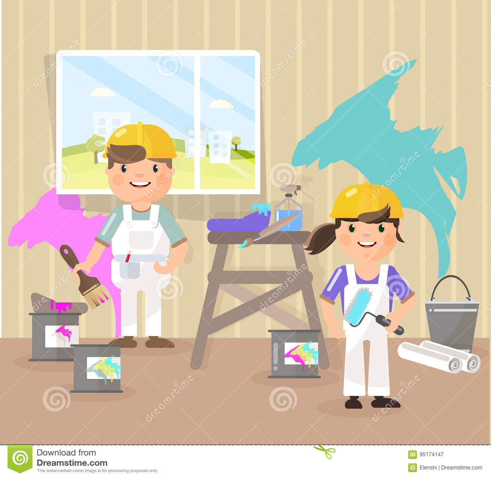 Vectorbeeld in de stijl van vlakte, beeldverhaal De schilders schilderen de ruimte, opnemen de kleur blauw, roze