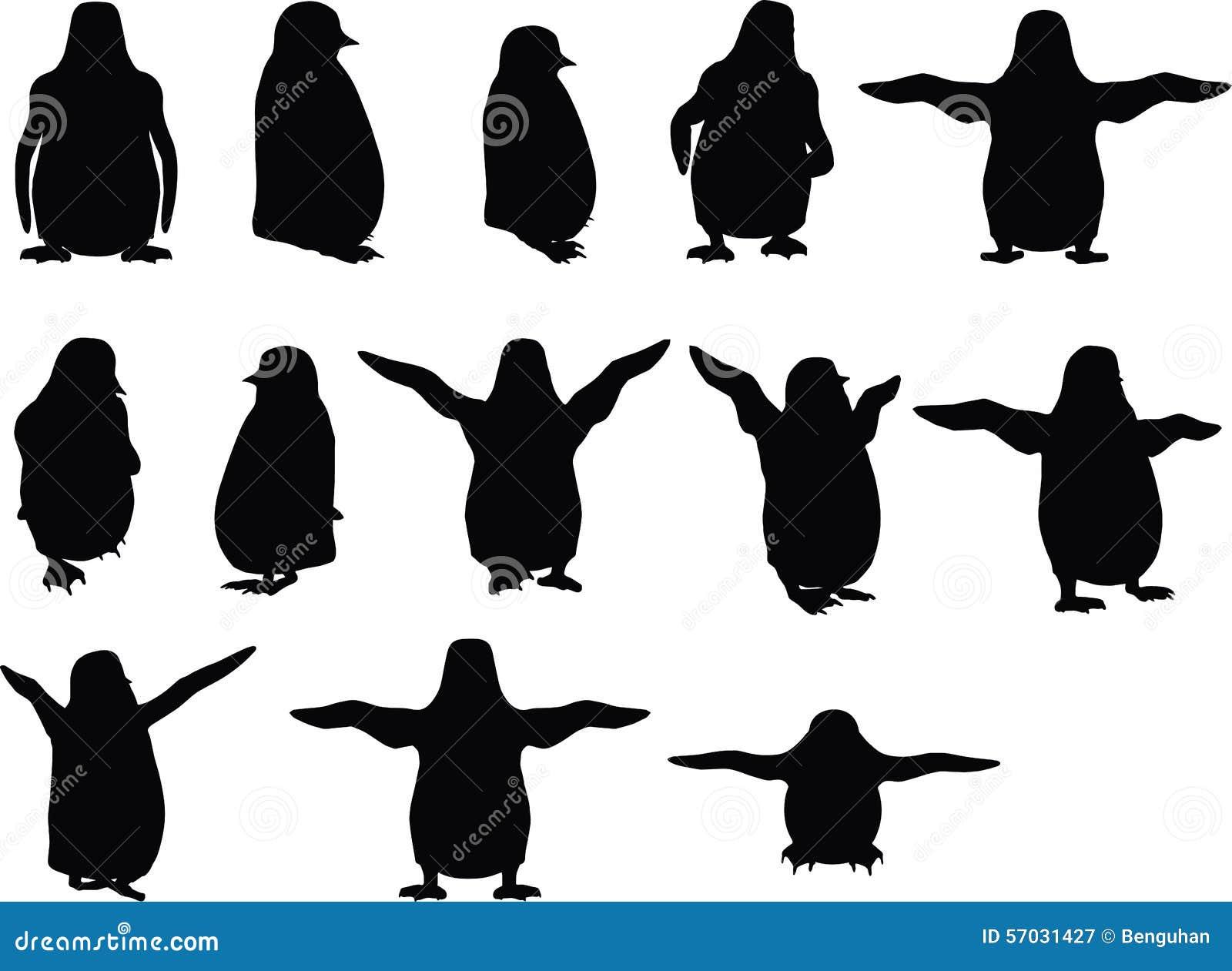 Vectorbeeld - silhouet van de baby het dierlijke pinguïn op witte achtergrond