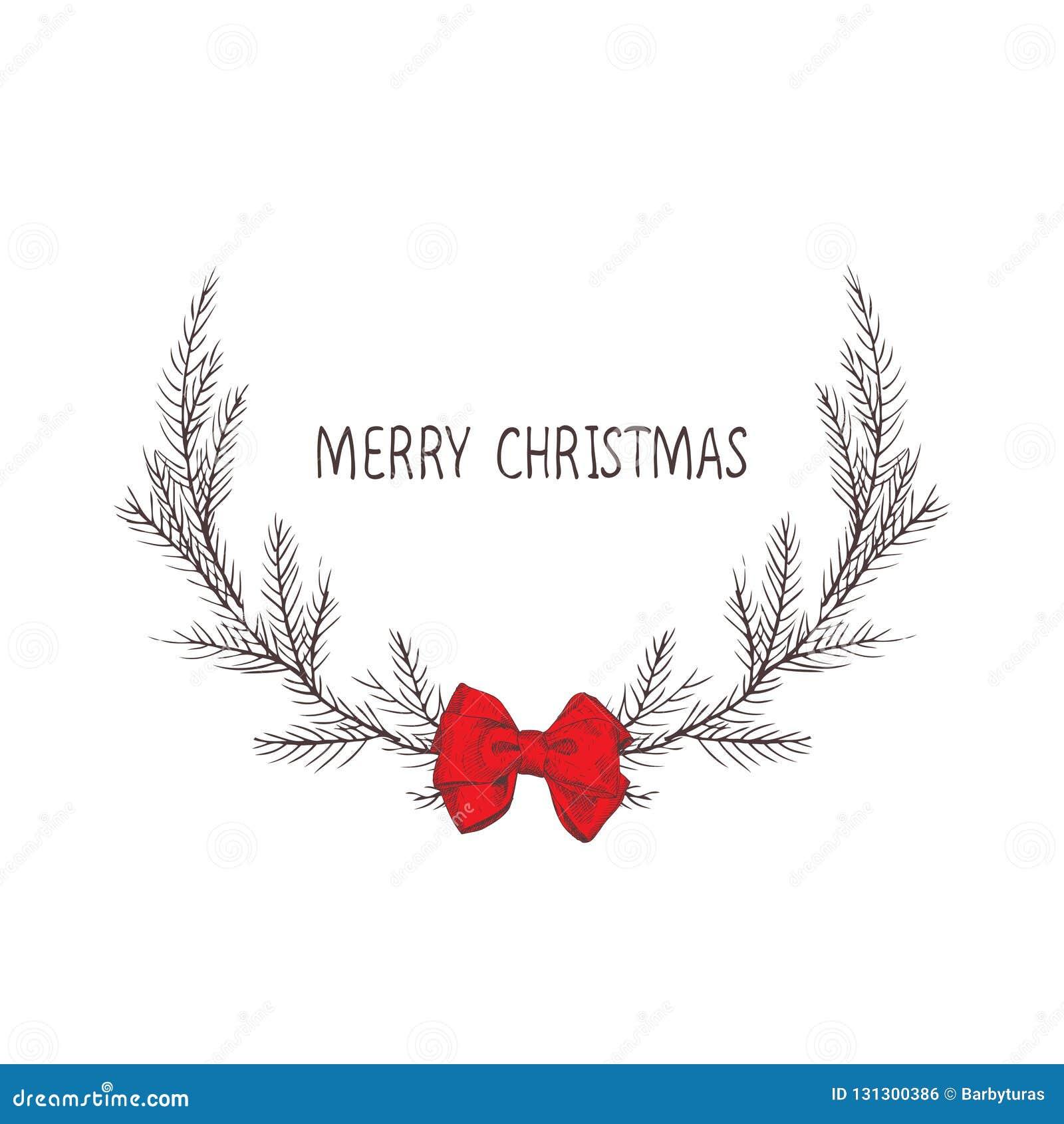 Vectorbeeld van een Kerstmiskroon met een boog, een kroon van spar Vrolijke Kerstmisinschrijving in het centrum De stemming van K