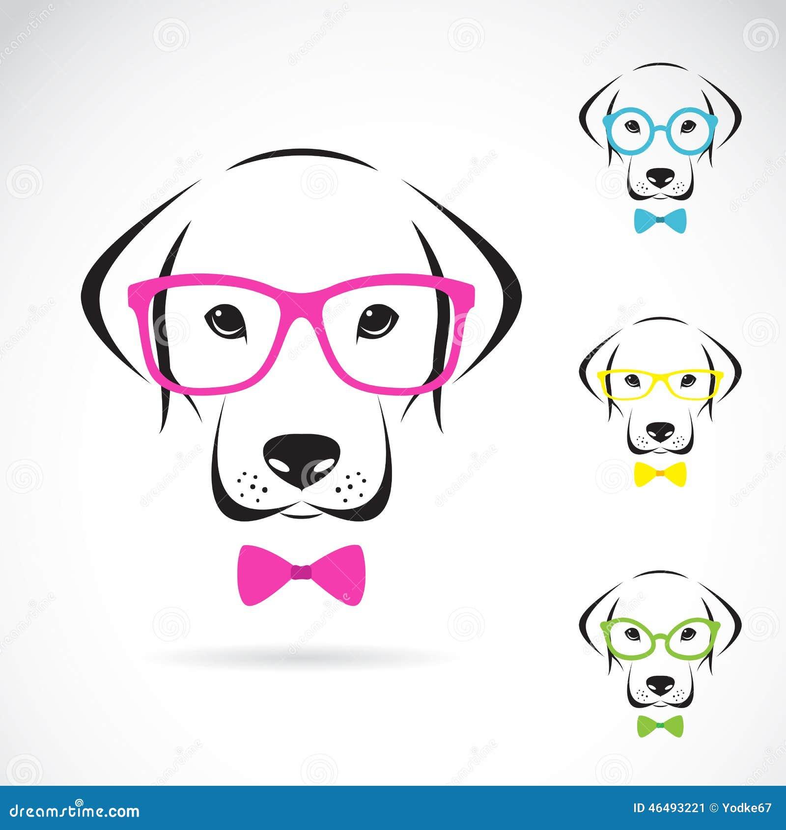 Vectorbeelden van hond Labrador die glazen dragen