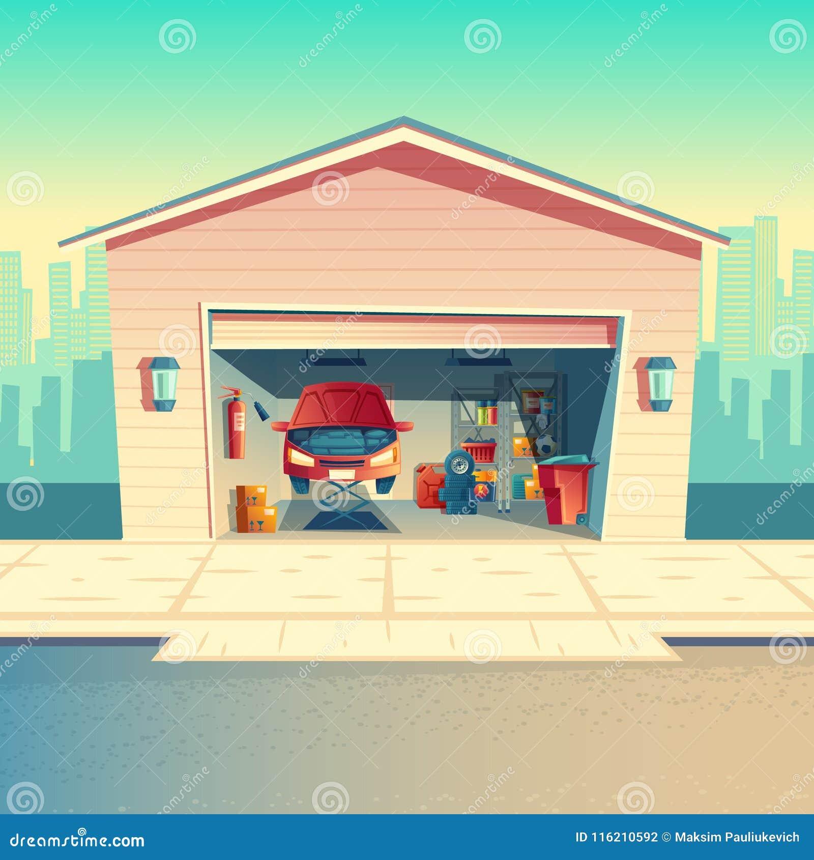 Vectorbeeldverhaal Mechanische Workshop Met Auto Garage Stock Foto