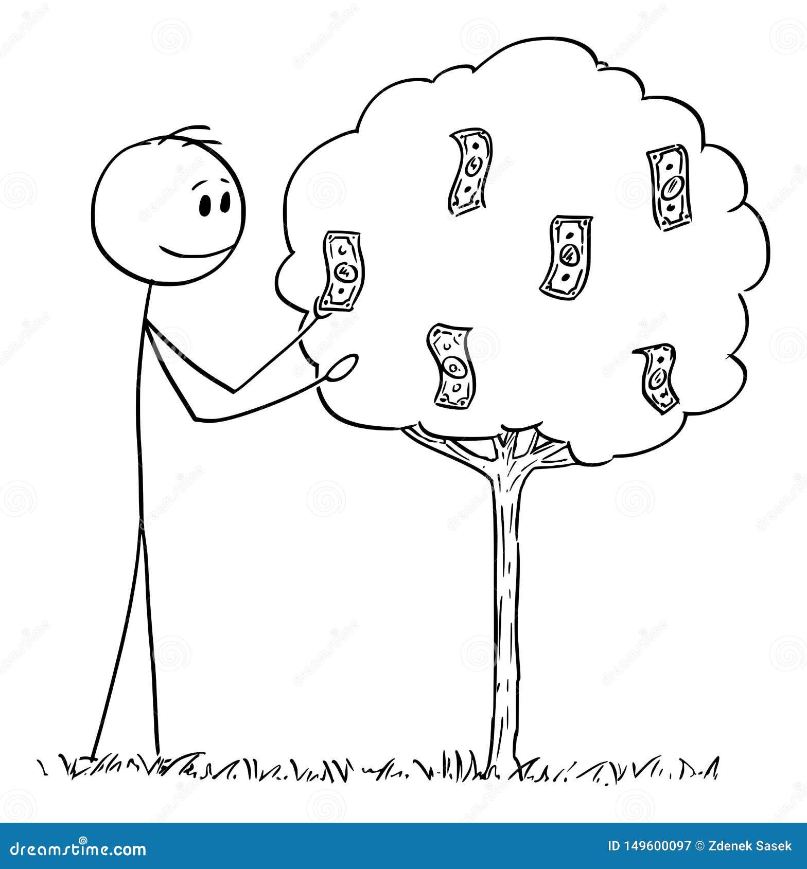 Vectorbeeldverhaal van de Mens of Zakenman Picking Dollar Bills of Bankbiljetten of Geld het Groeien op Boom als Fruit