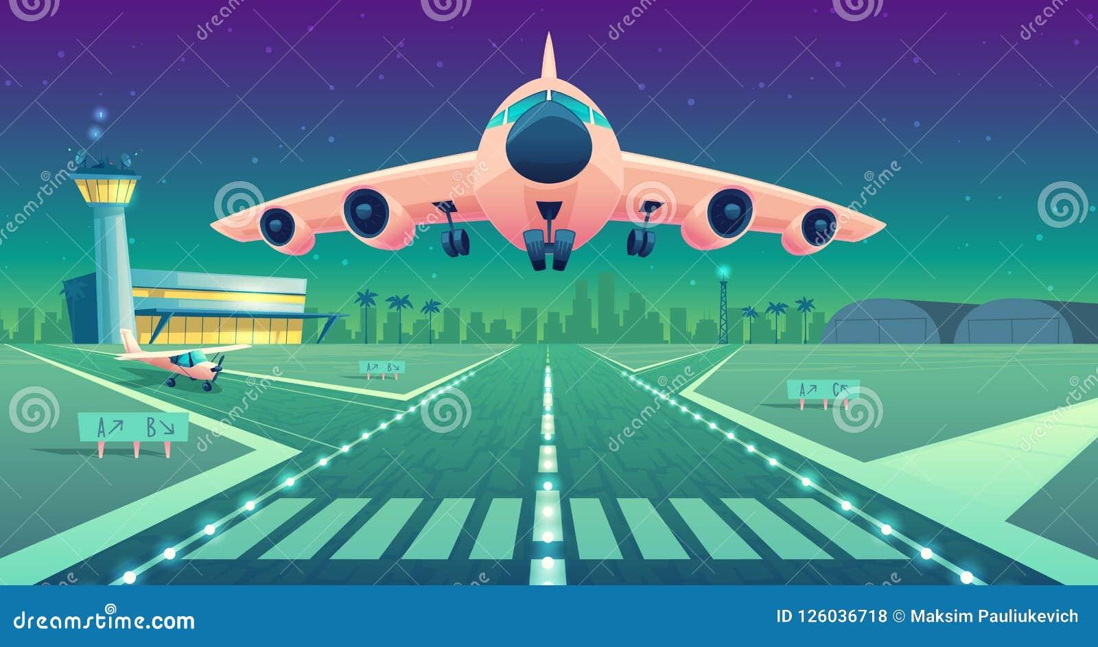 Vectorbeeldverhaal wit lijnvliegtuig, straal over baan