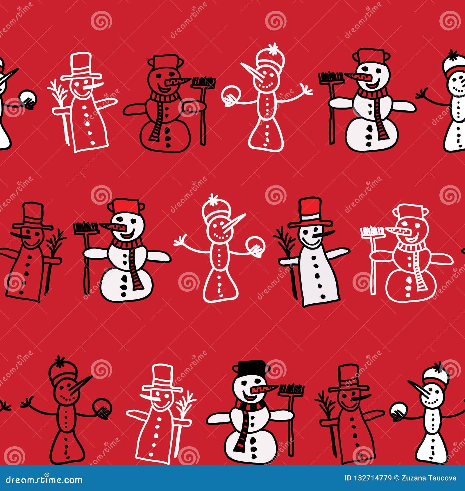 Vectorbeeldverhaalbeeld van een reeks leuke witte sneeuwmannen in verschillende kleren met verschillende attributen van Kerstmis