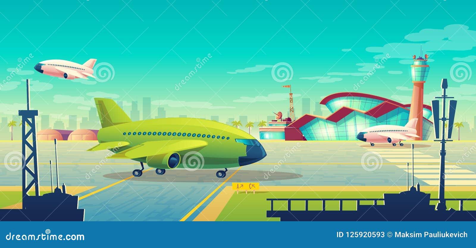 Vectorbeeldverhaalillustratie, groen lijnvliegtuig op baan