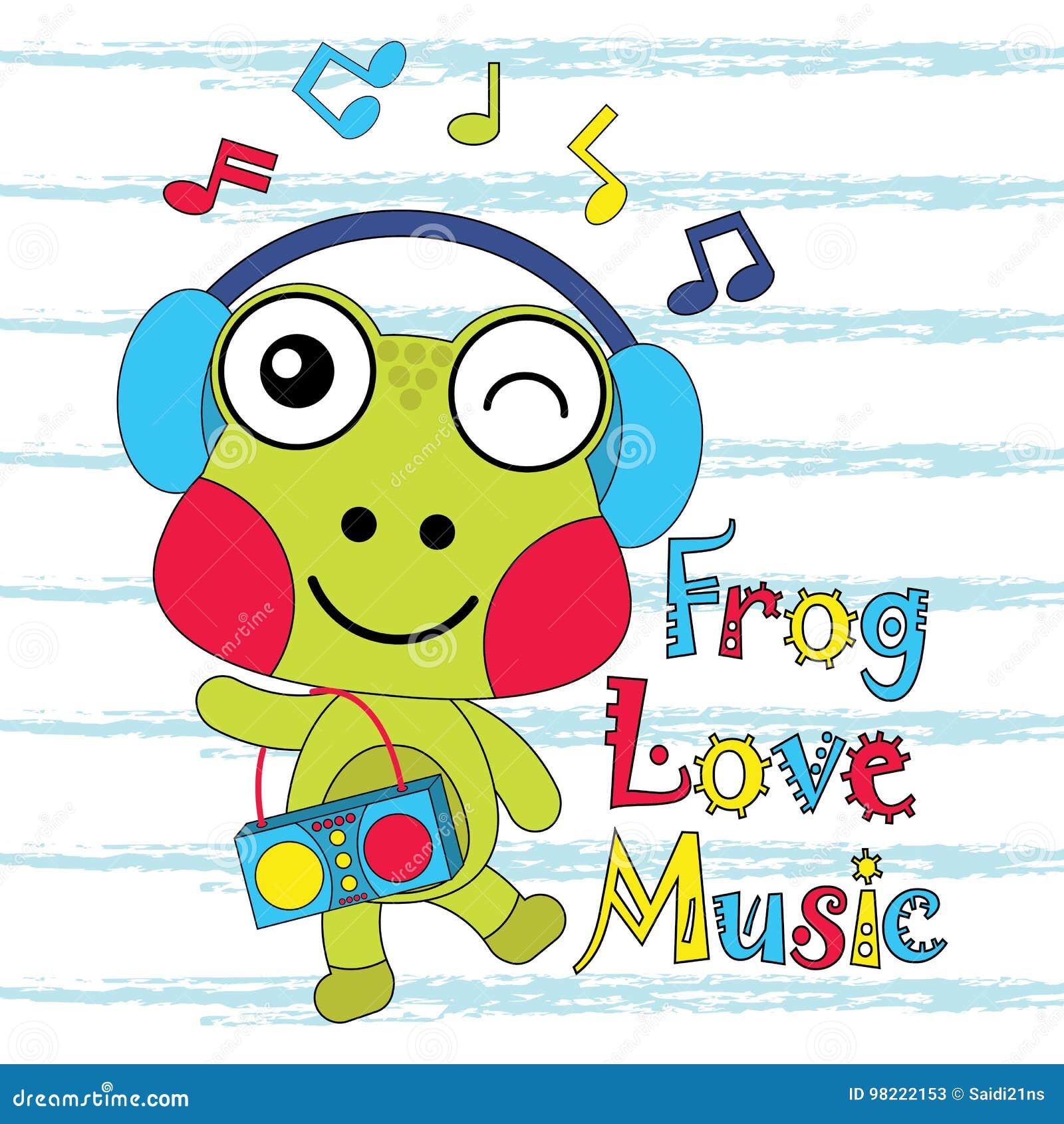 vectorbeeldverhaalillustratie van de leuke muziek van kikkerliefdes