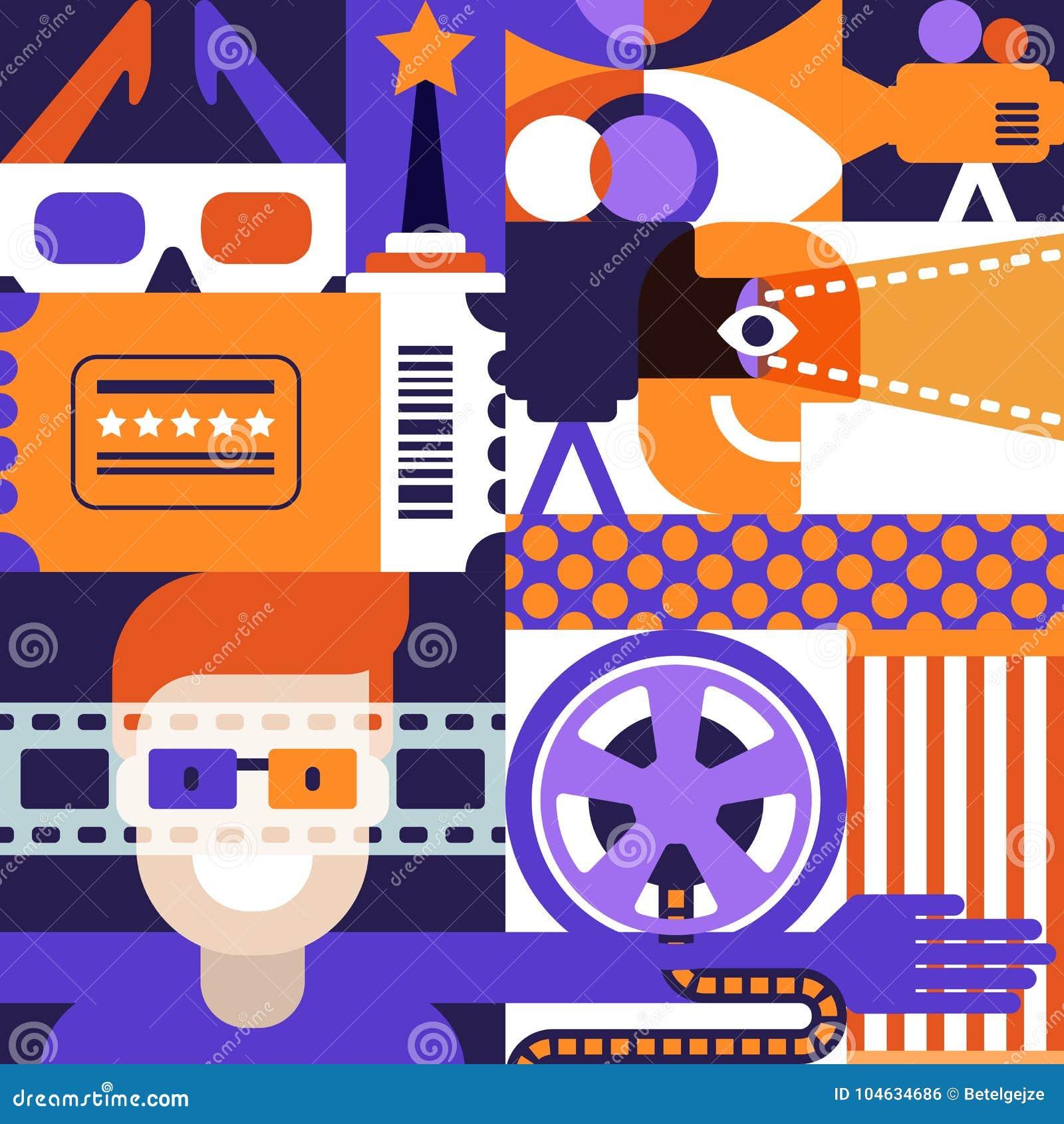 Download Vectorbioskoop Of Filmfestivalconcept Geometrisch Patroon Achtergrondontwerp Voor Affiche, Het Kaartje Van Het Ingangstheater Vector Illustratie - Illustratie bestaande uit art, blokken: 104634686