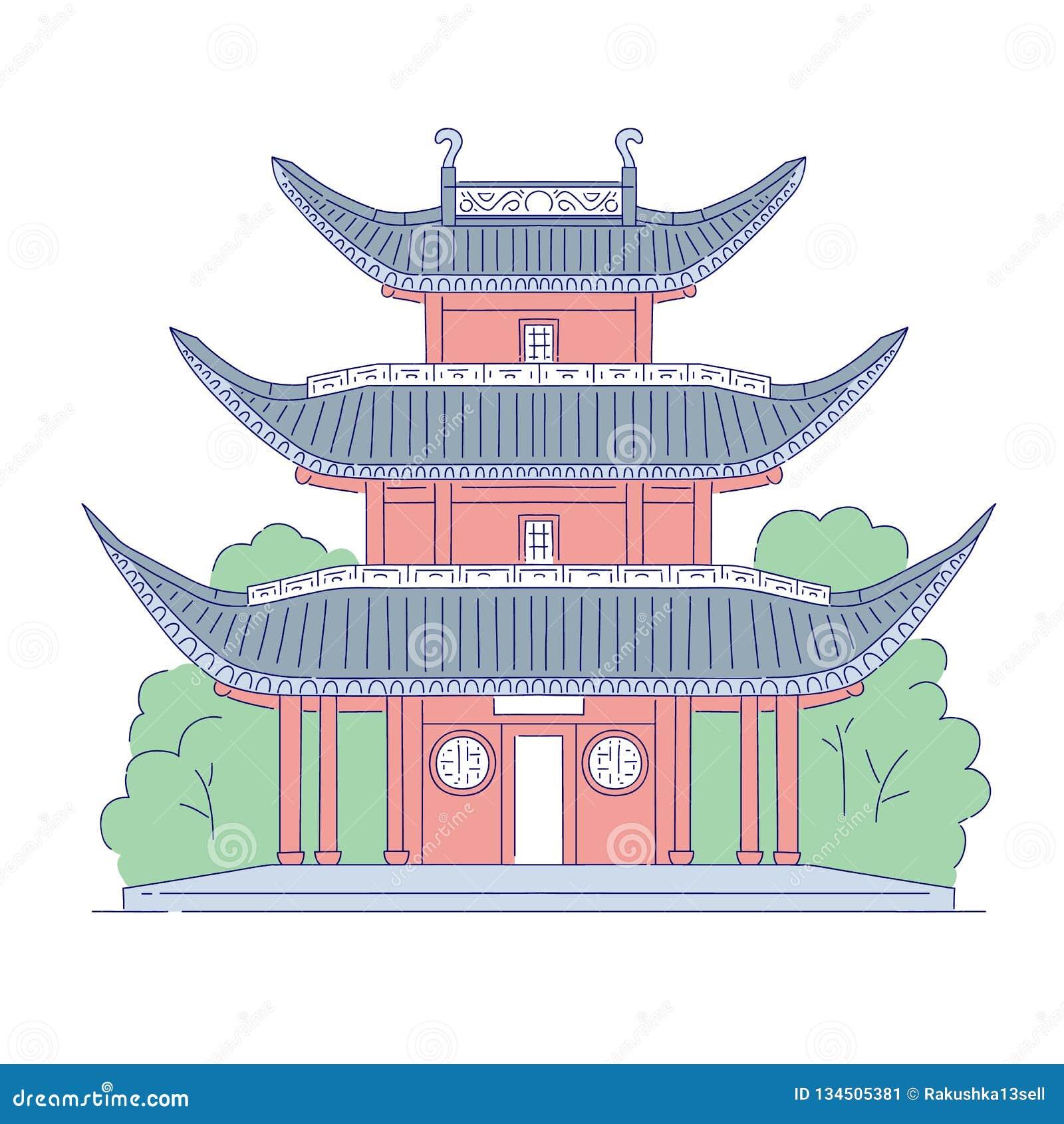 Vectorchinees die architecturaal oriëntatiepunt bouwen Oosterse de kunst traditionele historische nationaal van de architectuurli