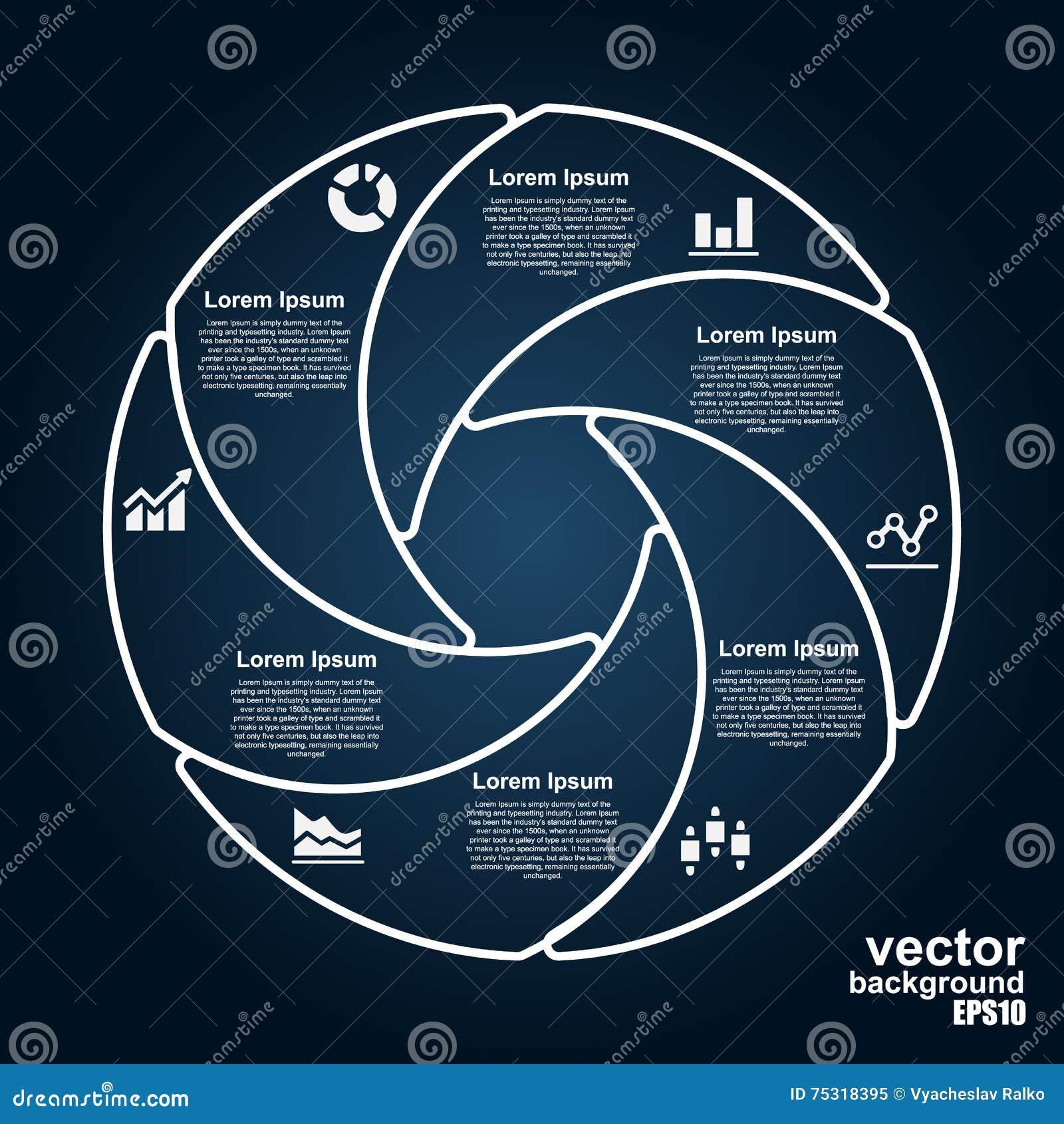 Vectorcirkelinfographics Malplaatje voor diagram