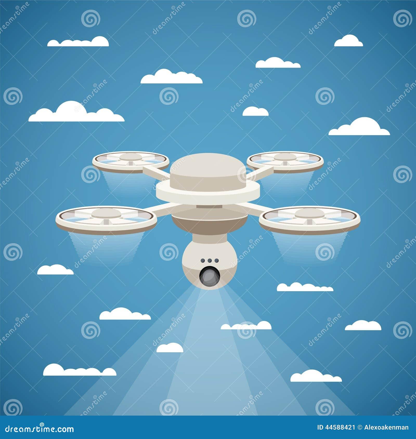Vectorconcept de hommel van de quadcopterlucht met videonok