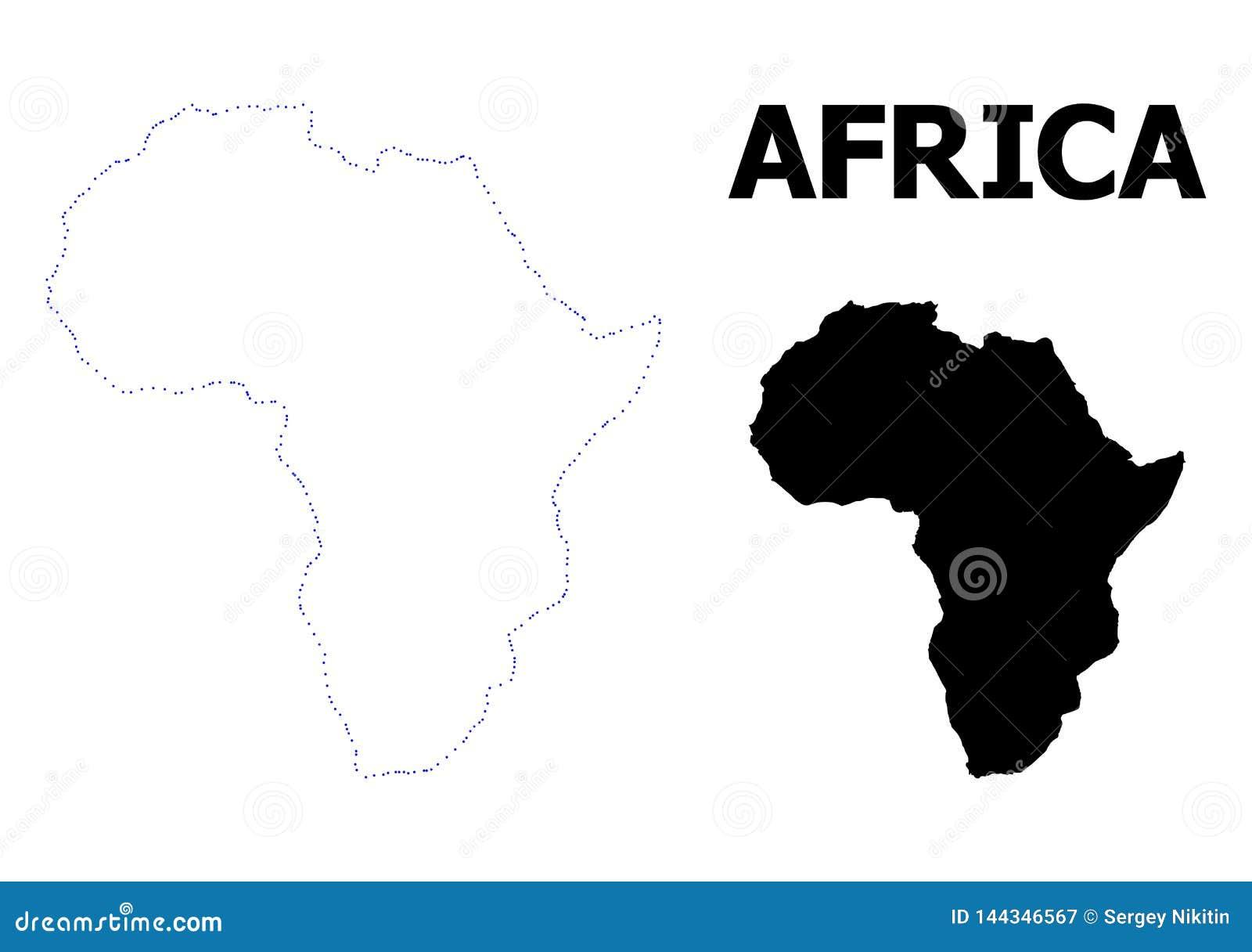 Vectorcontour Gestippelde Kaart van Afrika met Naam