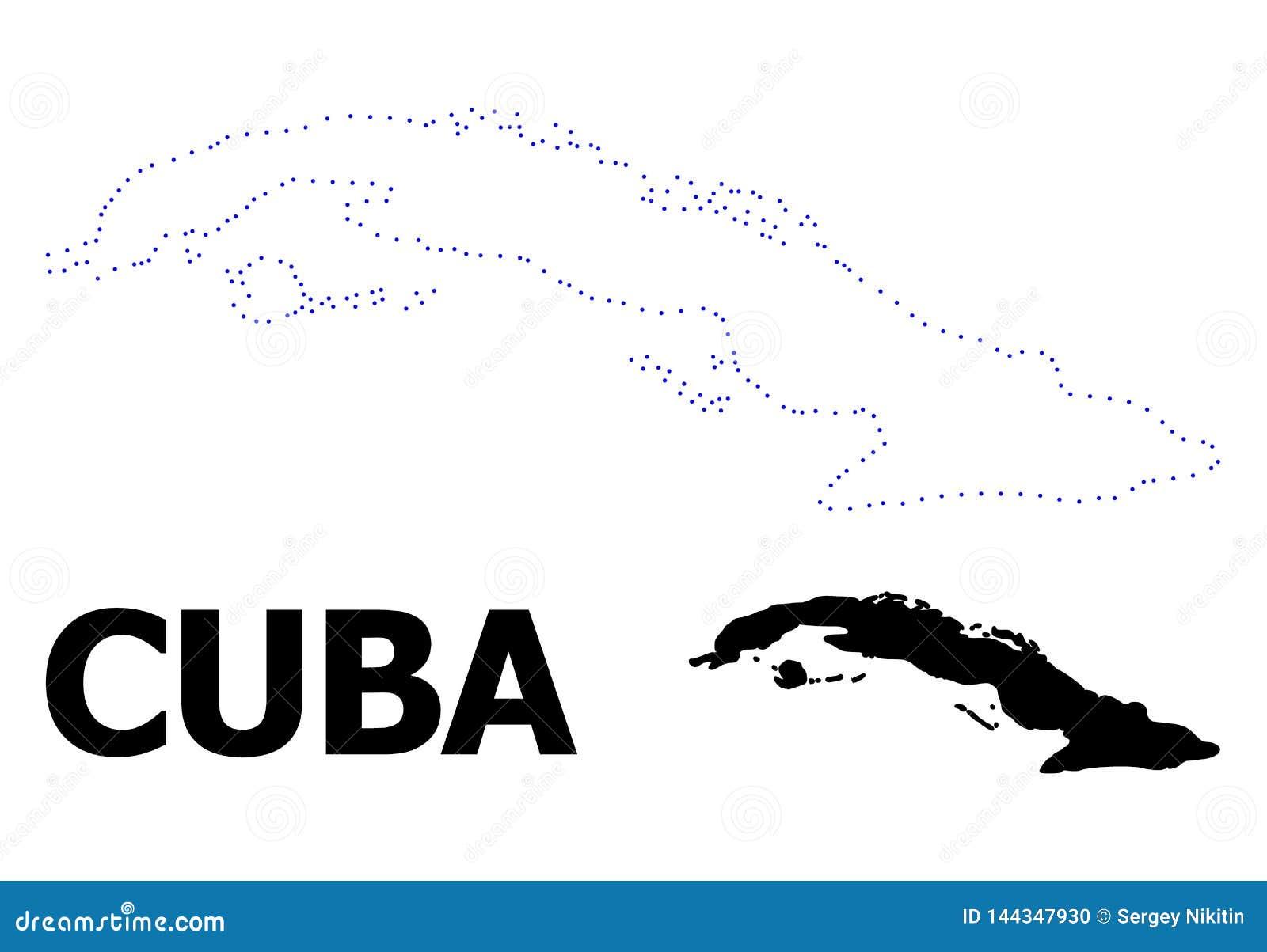 Vectorcontour Gestippelde Kaart van Cuba met Naam