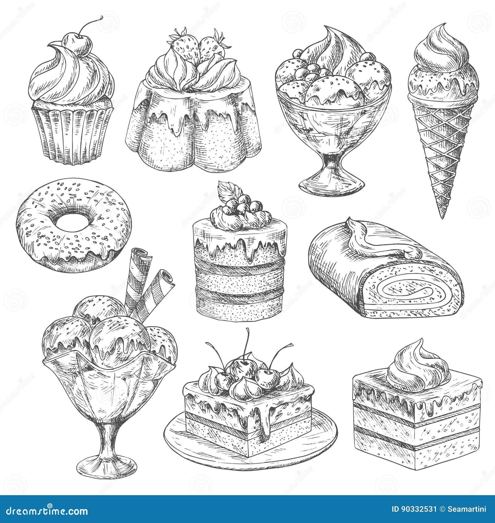 Vectordesserts en cakes voor de pictogrammen van de bakkerijschets