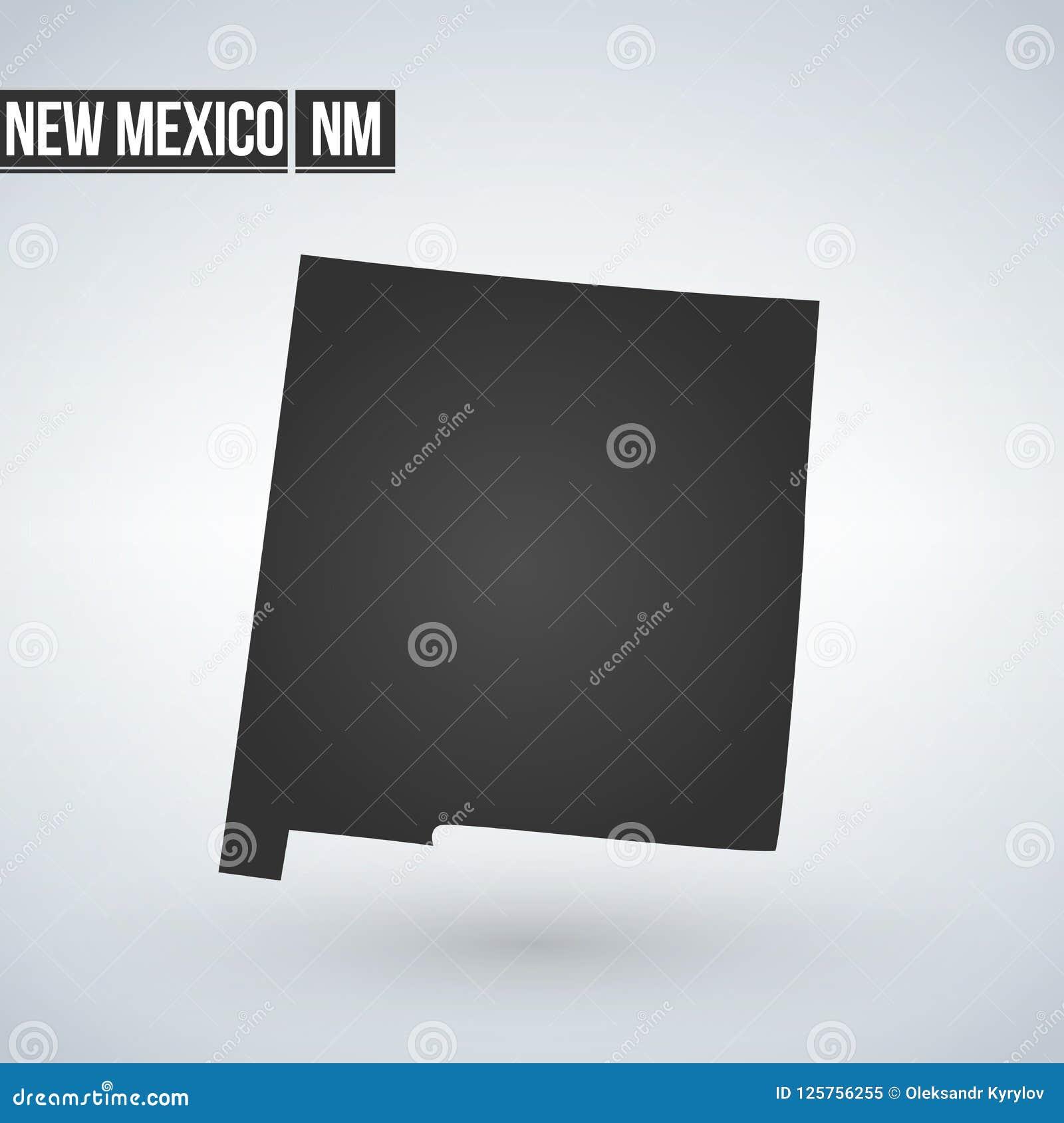 Vectordie de kaartsilhouet van New Mexico op witte achtergrond wordt geïsoleerd Hoog gedetailleerde illustratie Verenigde staat v