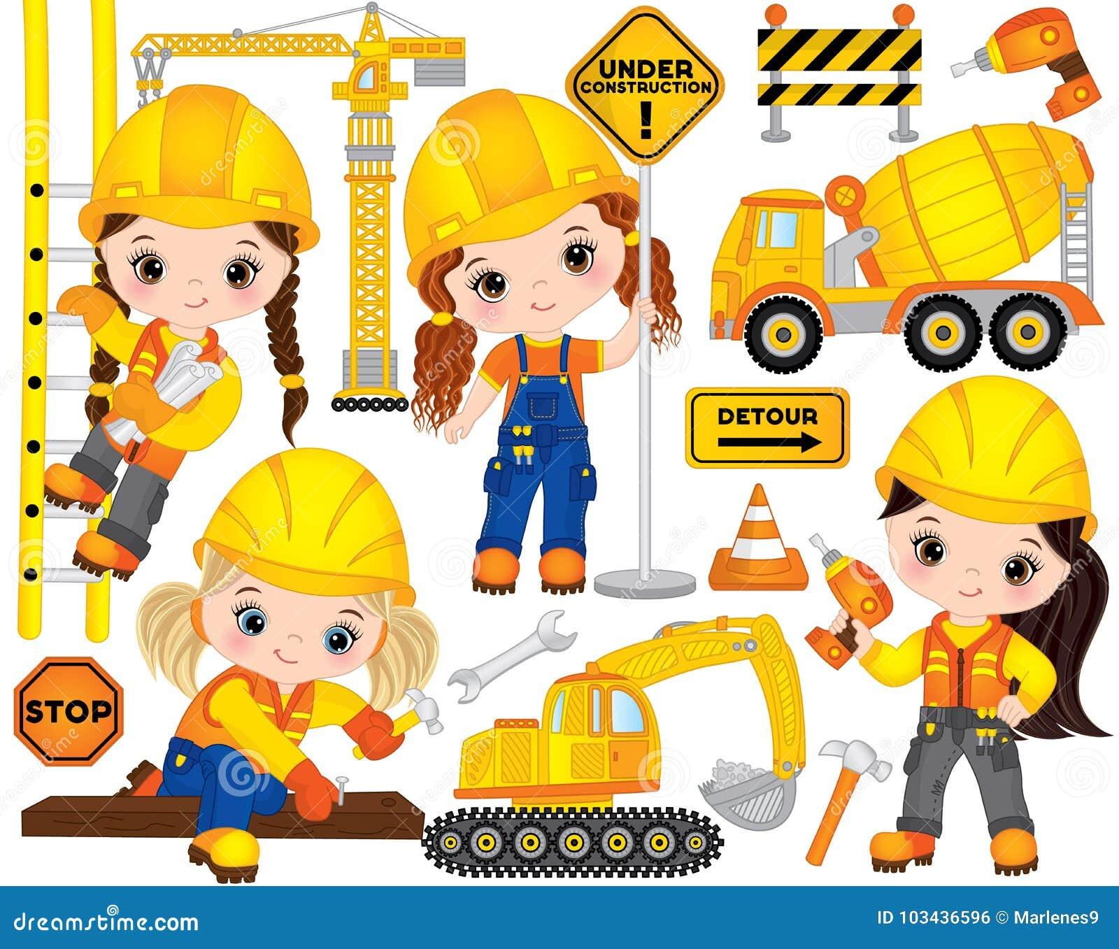 VectordieBouw met Meisjes, Vervoer en Diverse Hulpmiddelen wordt geplaatst