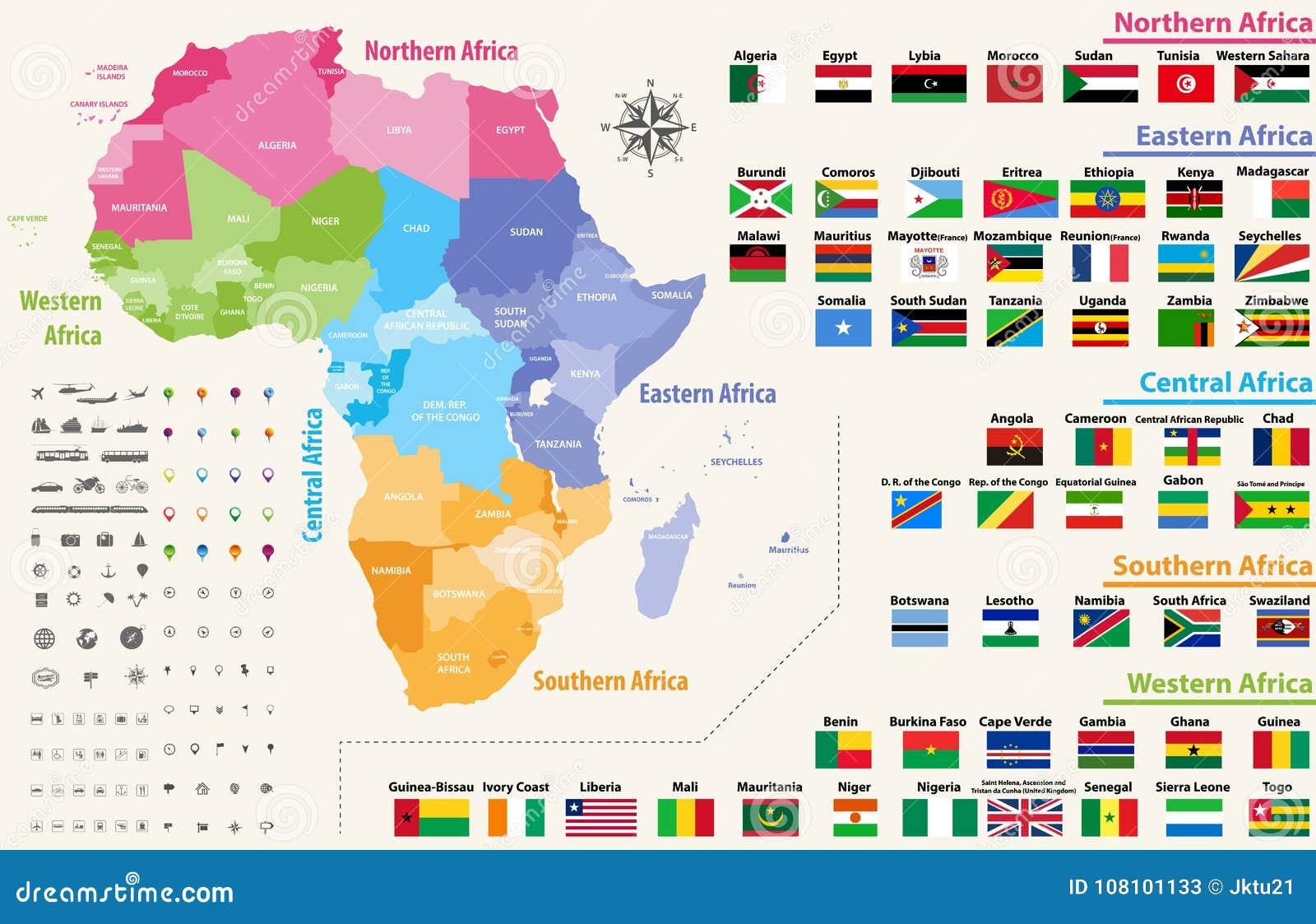 Vectordiekaart van het continent van Afrika door gebieden wordt gekleurd Alle in alfabetische volgorde geschikte vlaggen van Afri