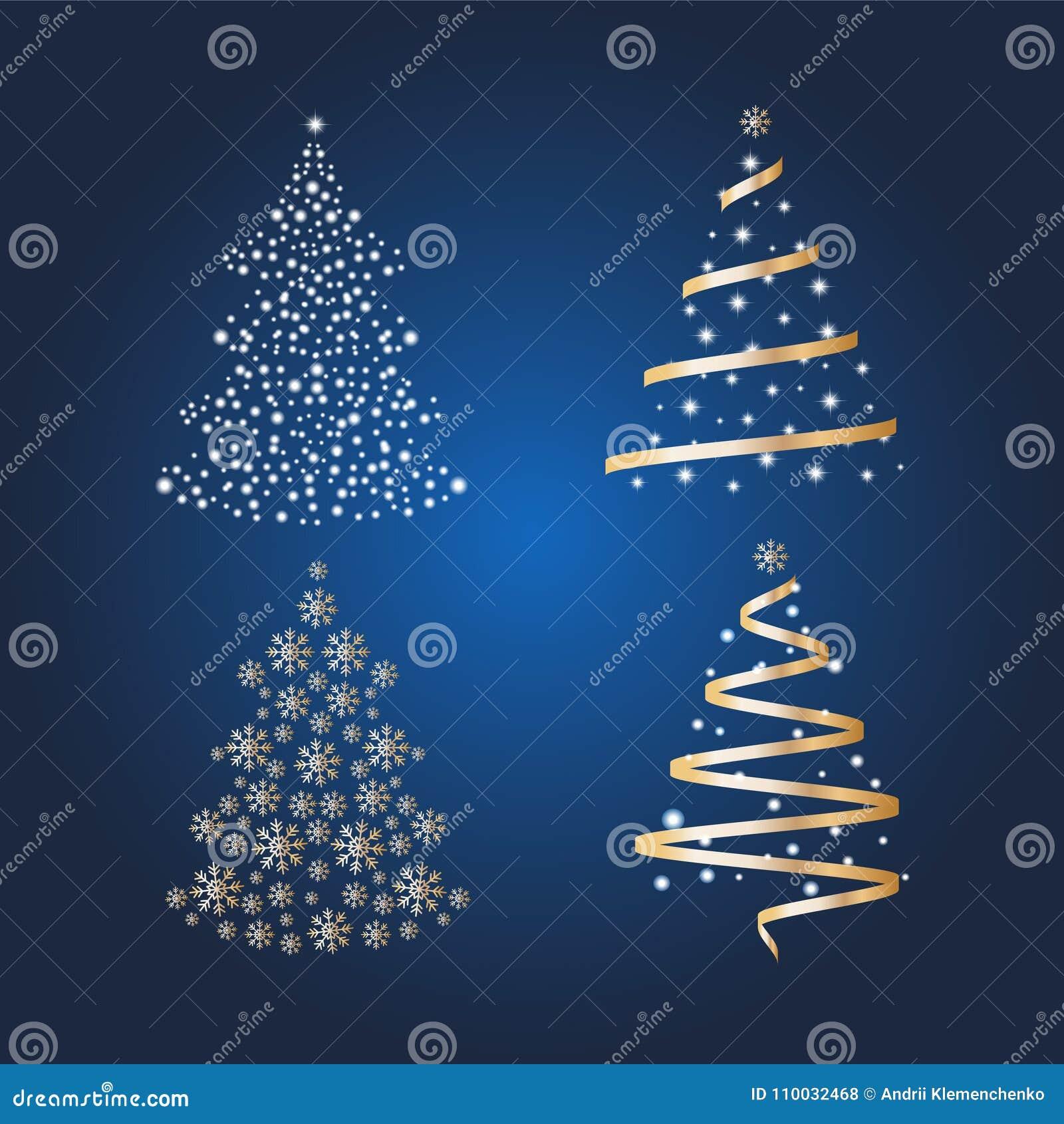VectordieKerstbomen met ballen en sterren op een heldere blauwe achtergrond worden verfraaid Het concept van de de wintervakantie
