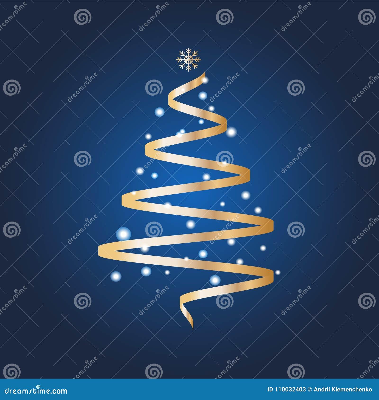 VectordieKerstboom met ballen wordt verfraaid en een ster op een heldere blauwe achtergrond Het concept van de de wintervakantie