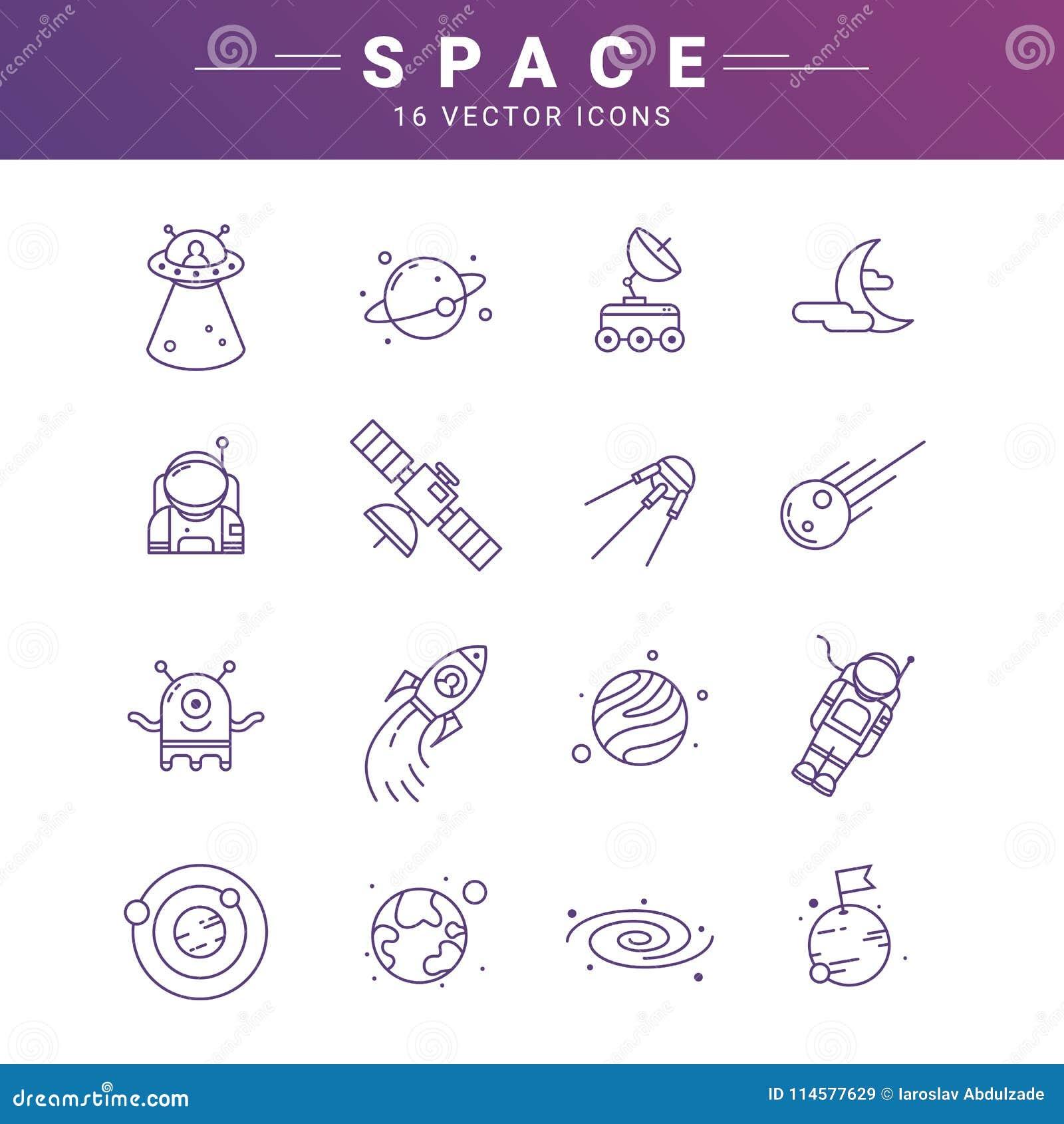 Vectordielijnpictogram voor astronomie wordt geplaatst