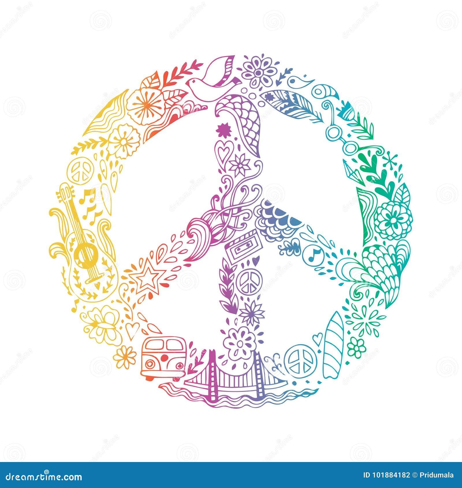 Vectordievredessymbool van de krabbel handdrawn pictogrammen van het hippiethema wordt gemaakt, pacifismeteken De sierachtergrond
