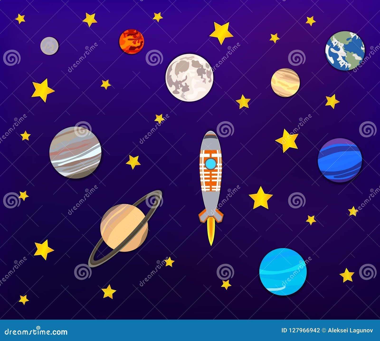 Vectordocument Kunst: Ruimteavontuur, Planeten, Maan, Sterren en Raket