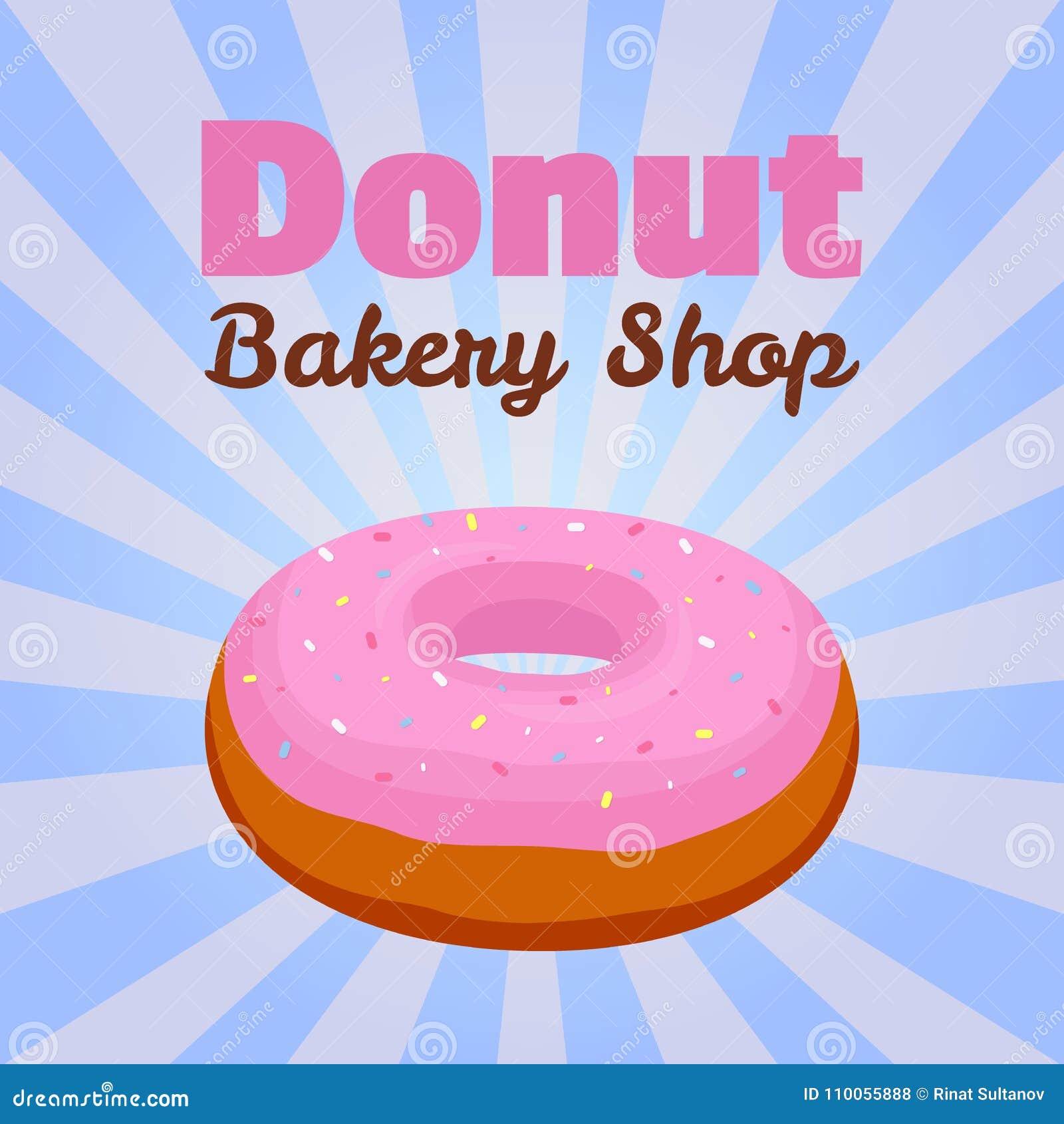 Vectordoughnutaffiche, banner met roze glansgebakje voor reclame van bakkerijwinkel Beeldverhaal vlakke stijl