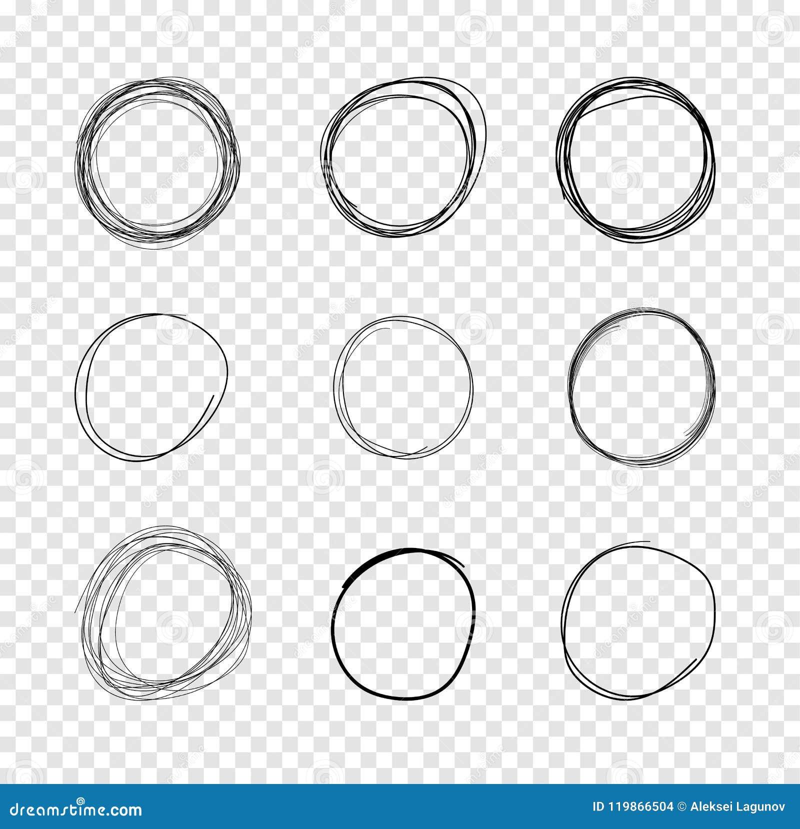 VectorDrawncirkels, de Tekeningen van Gekrabbellijnen op Transparante Achtergrond