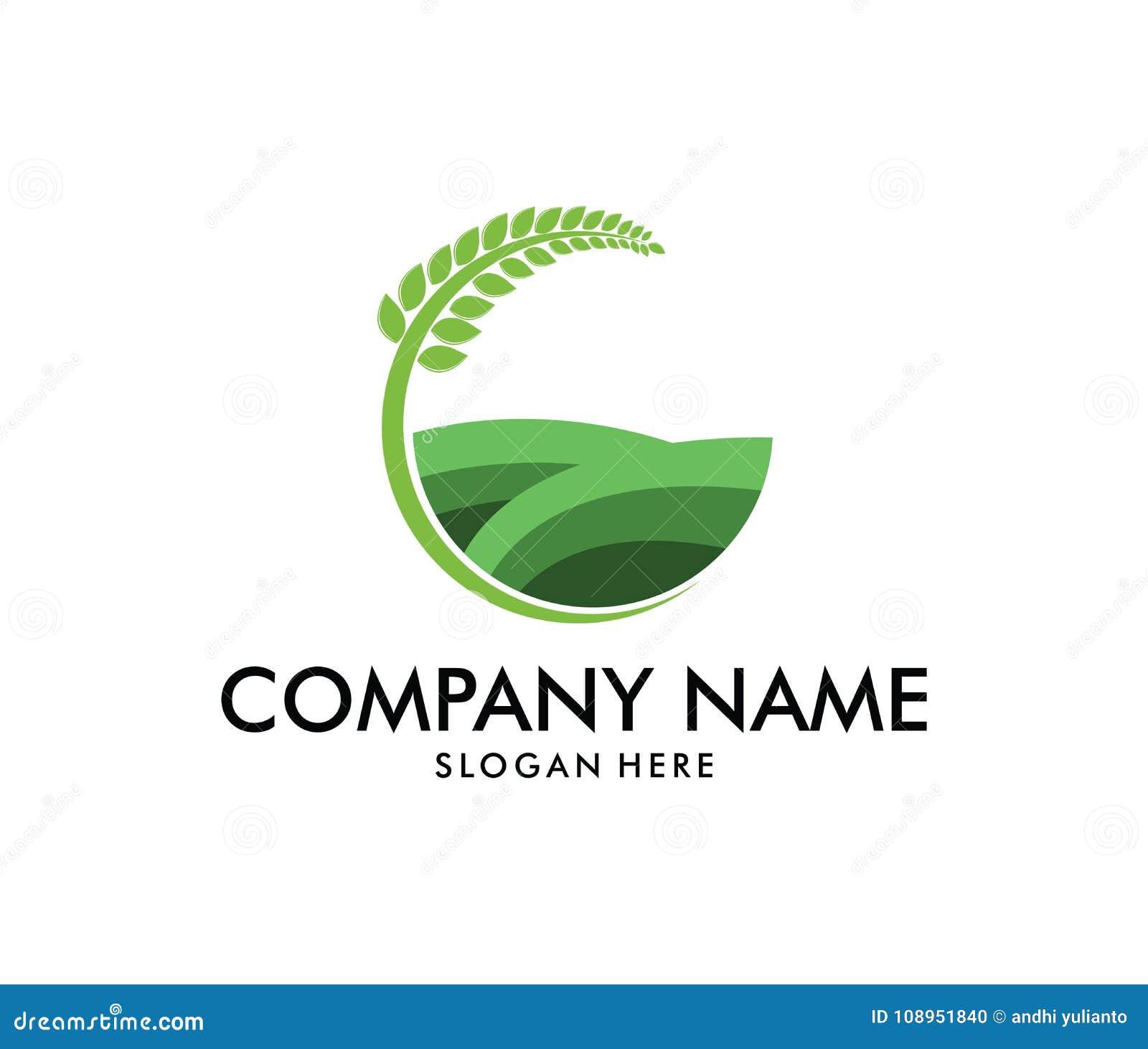 Vectorembleemontwerp voor landbouw, agronomie, tarwelandbouwbedrijf, landelijk de landbouwgebied van het land, natuurlijke oogst