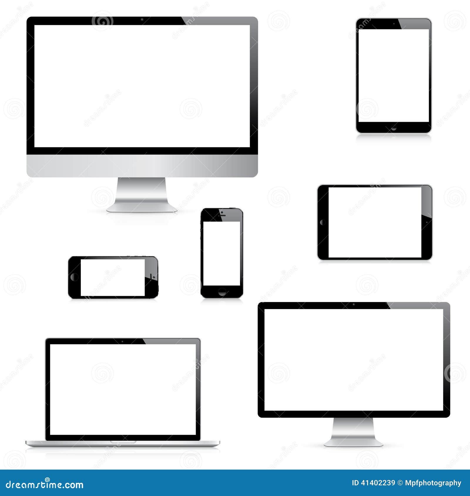 Vectores realistas modernos del ordenador, del ordenador portátil, de la tableta y del smartphone fijados