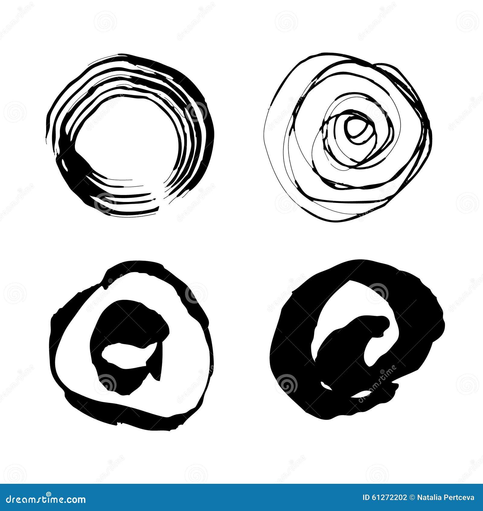 Vectorhand getrokken cirkels Geplaatste de borstelslagen van de Grungeinkt