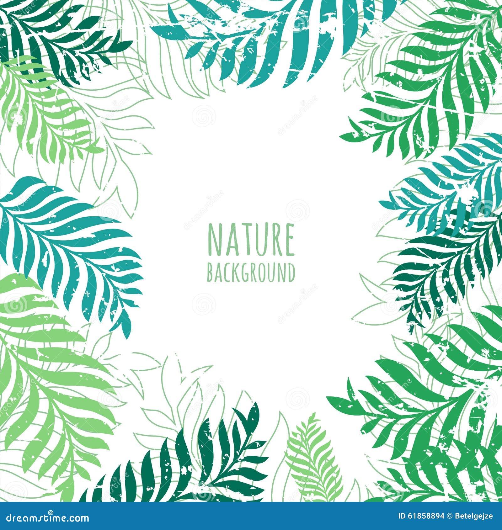 Vectorhand getrokken groene palmbladeren, grunge achtergrond