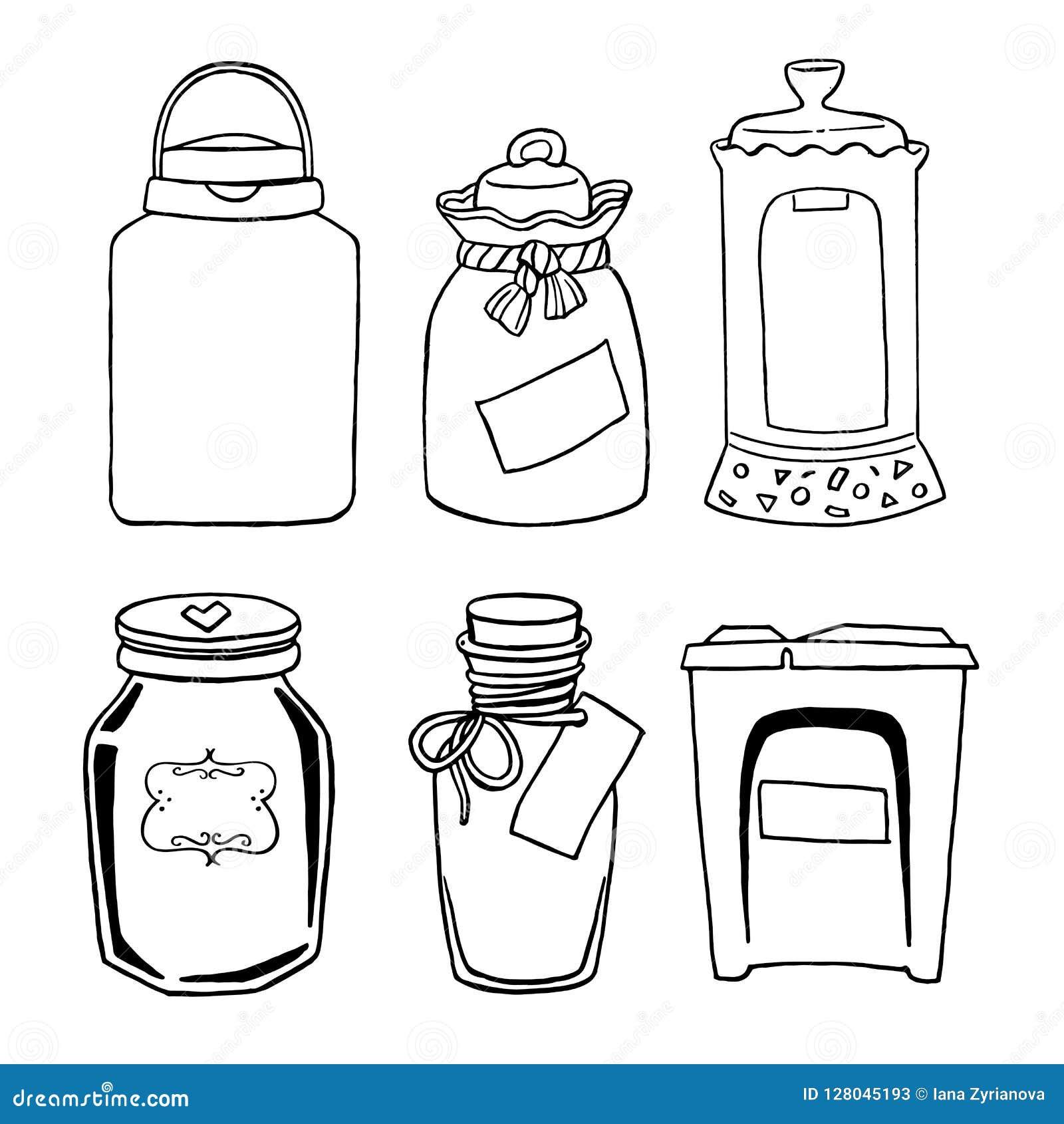 Vectorhand getrokken illustratie met uitstekende verschillende kruiken voor geplaatste gruttenproducten: suiker, zout, koffie, bo