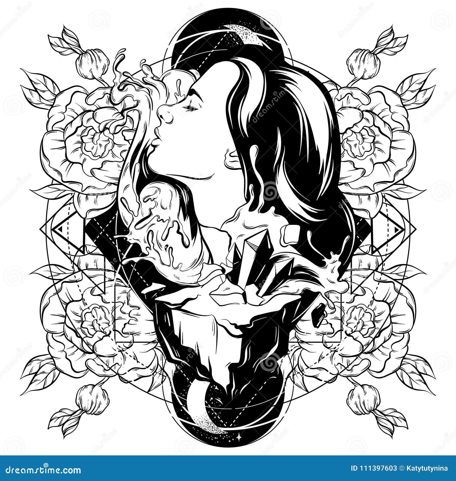 Vectorhand getrokken illustratie van mooie vrouw met golven en rots