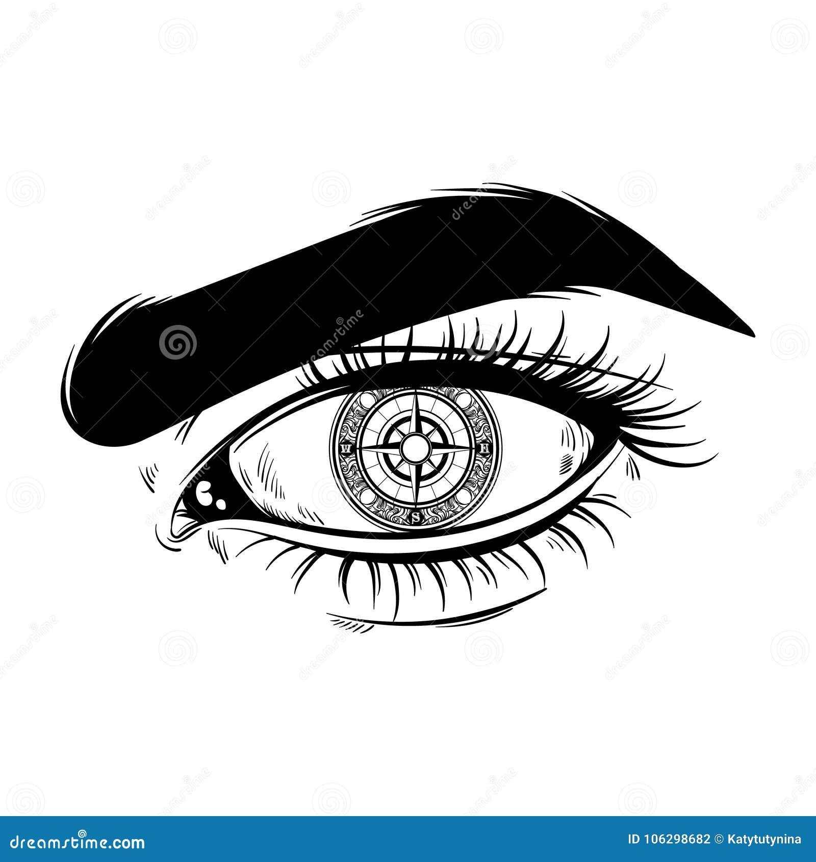 Vectorhand getrokken realistische illustratie van menselijk oog met kompas in plaats daarvan leerling Surreal tatoegeringskunstwe