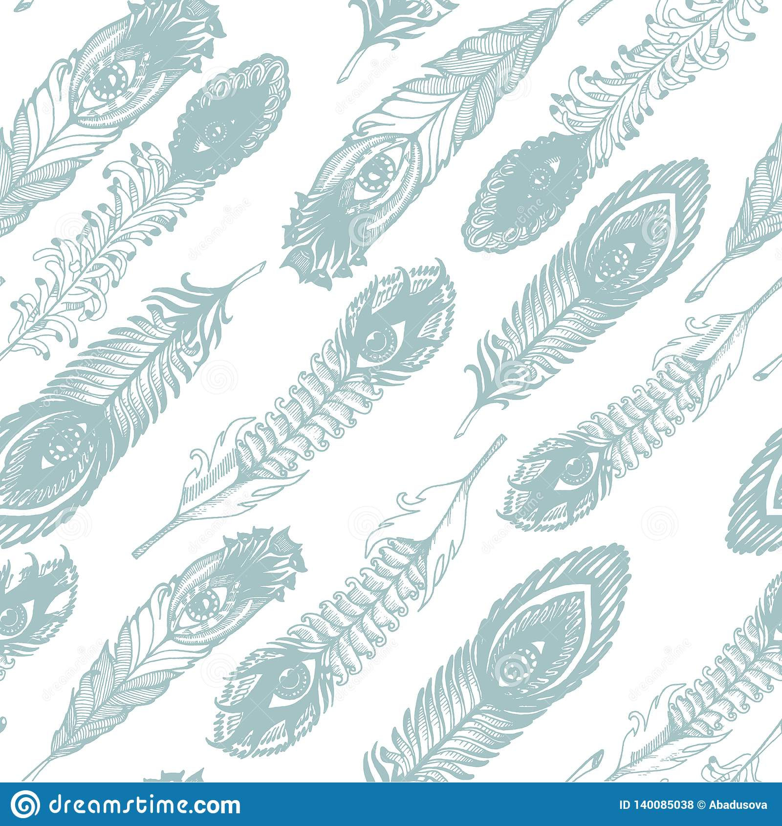 Vectorhand getrokken schets van abstracte veerillustratie op het witte naadloze patroon als achtergrond