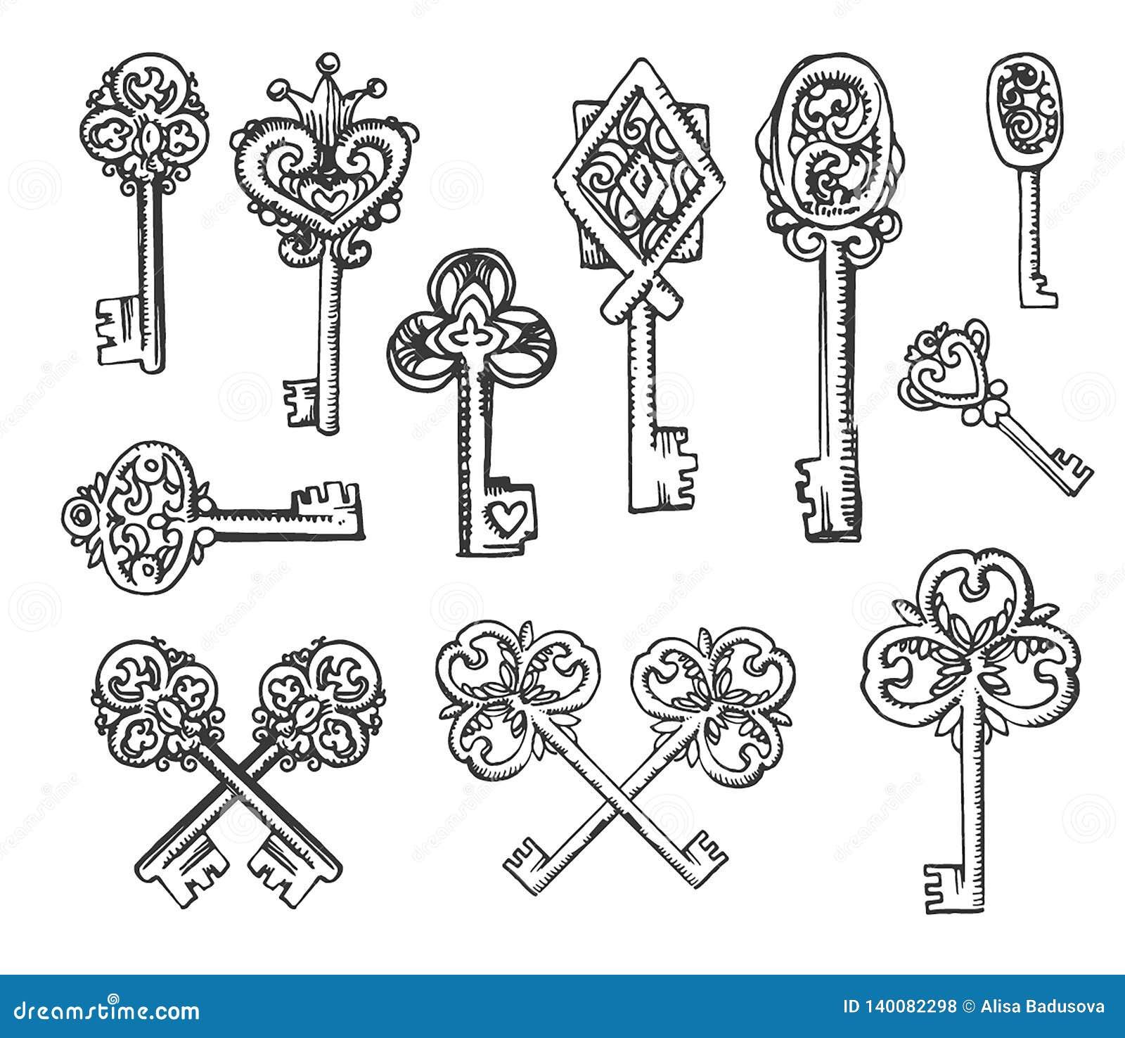 Vectorhand getrokken schets van uitstekende sleutelsillustratie op witte achtergrond