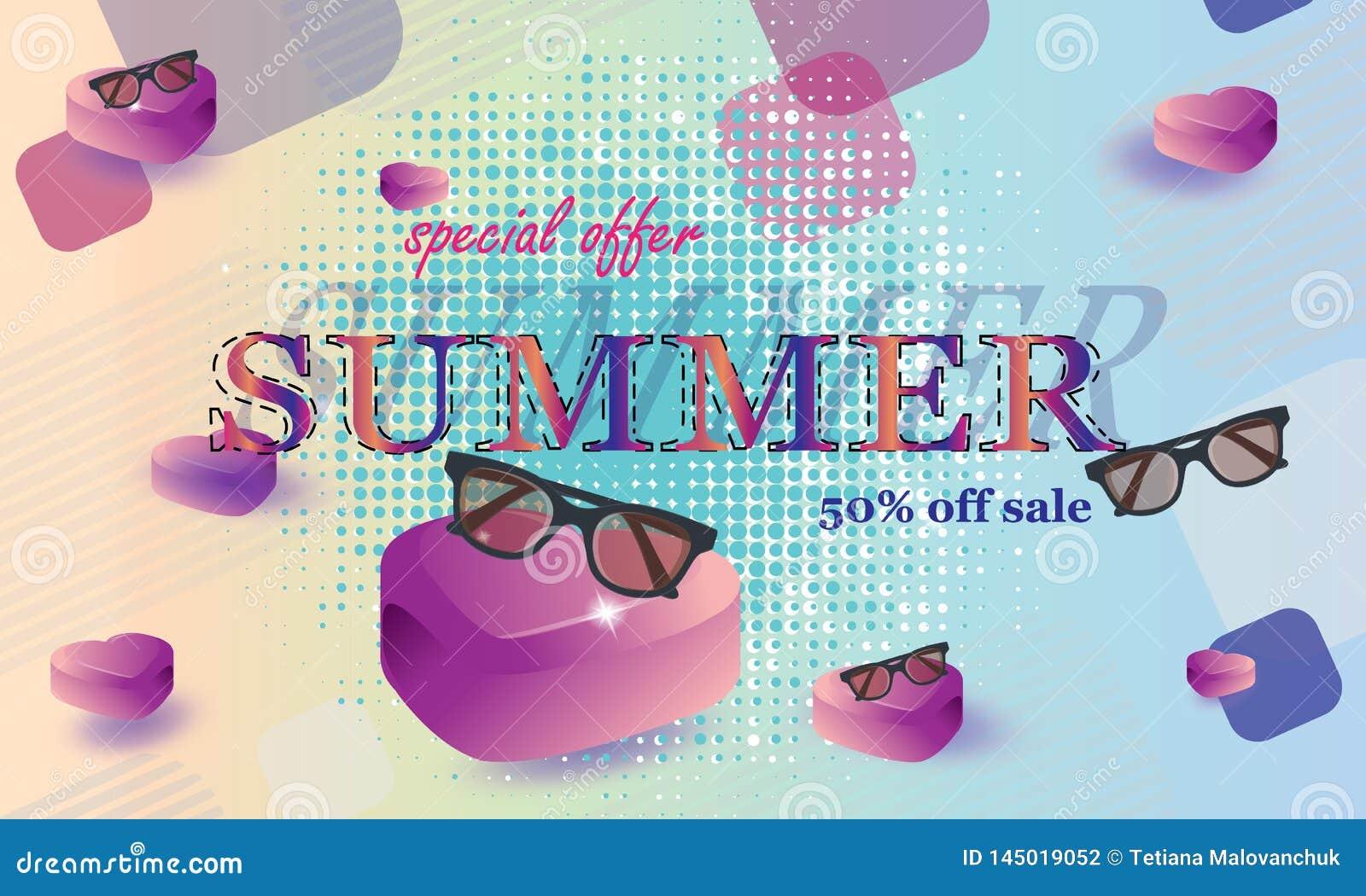 Vectorillustratie, banner Het concept een prentbriefkaar op een de zomerthema met de zomerattributen - Beelden vectorielles