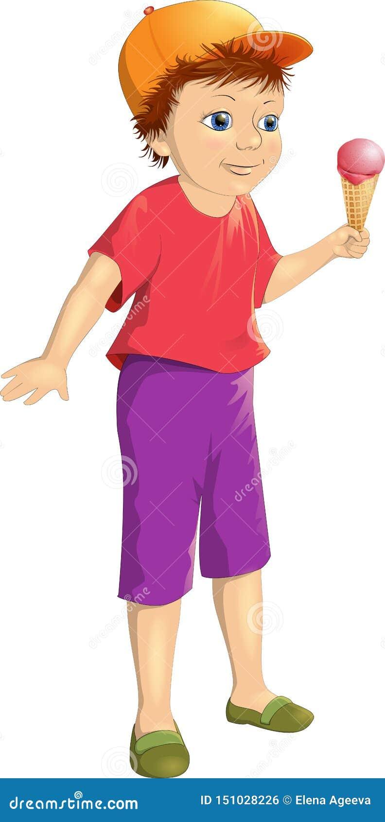 Vectorillustratie die gelukkige jongen met roomijs glimlachen