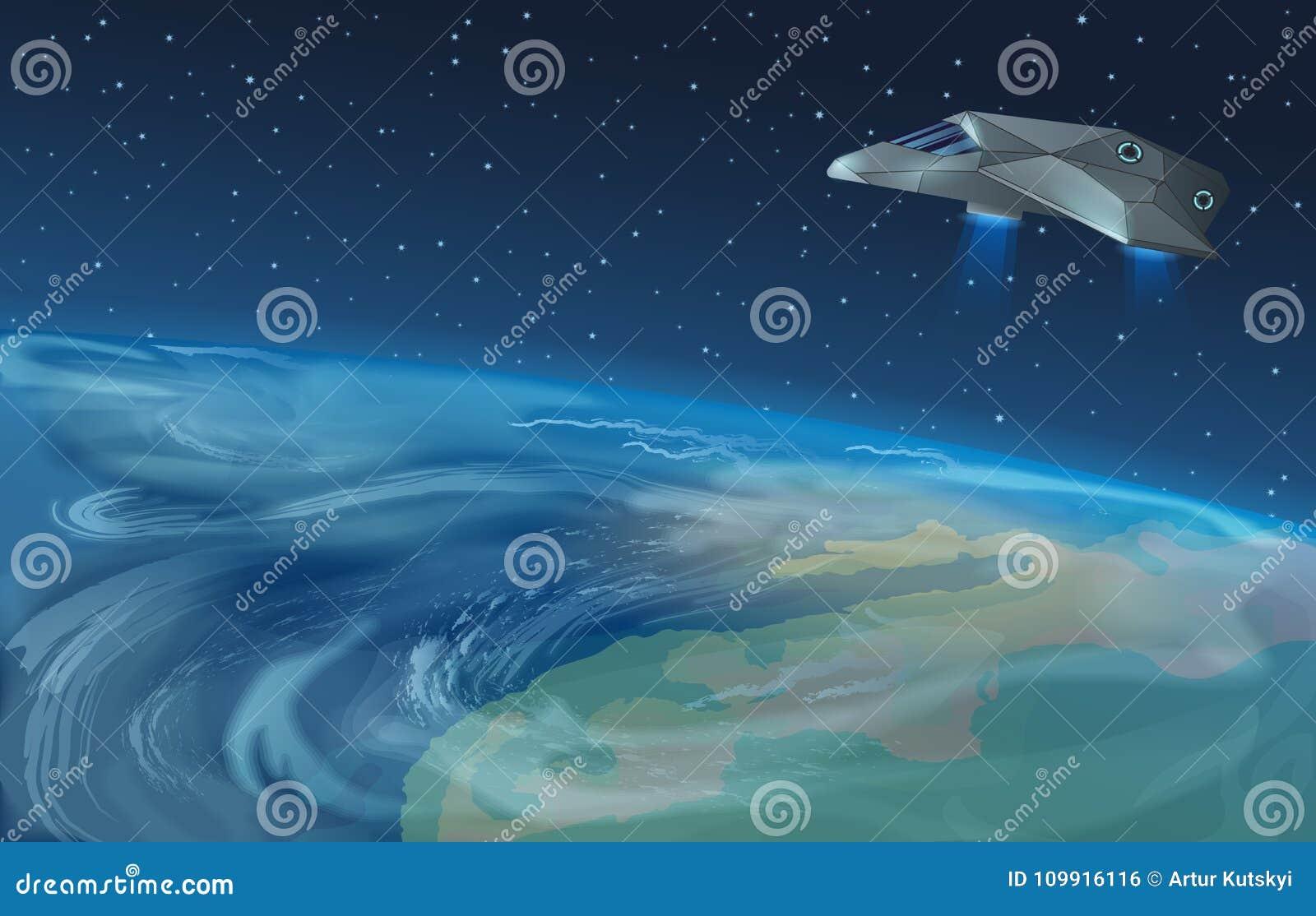 Vectorillustratie die van ruimteschip over planeet aan blauwe ster in geopende melkwegruimte vliegen Aardemening van Ruimte