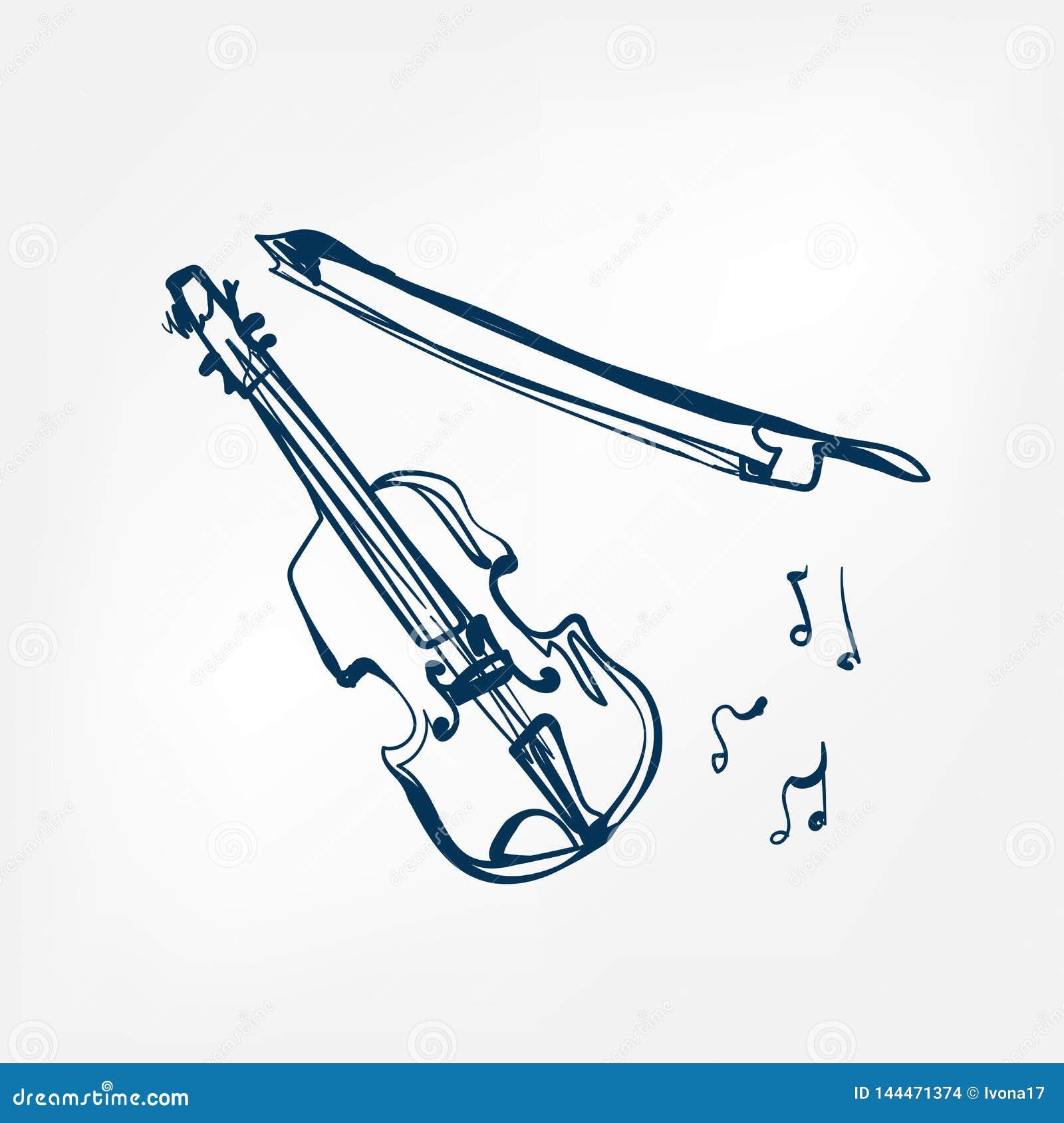Vectorillustratie geïsoleerd het ontwerpelement van de vioolschets